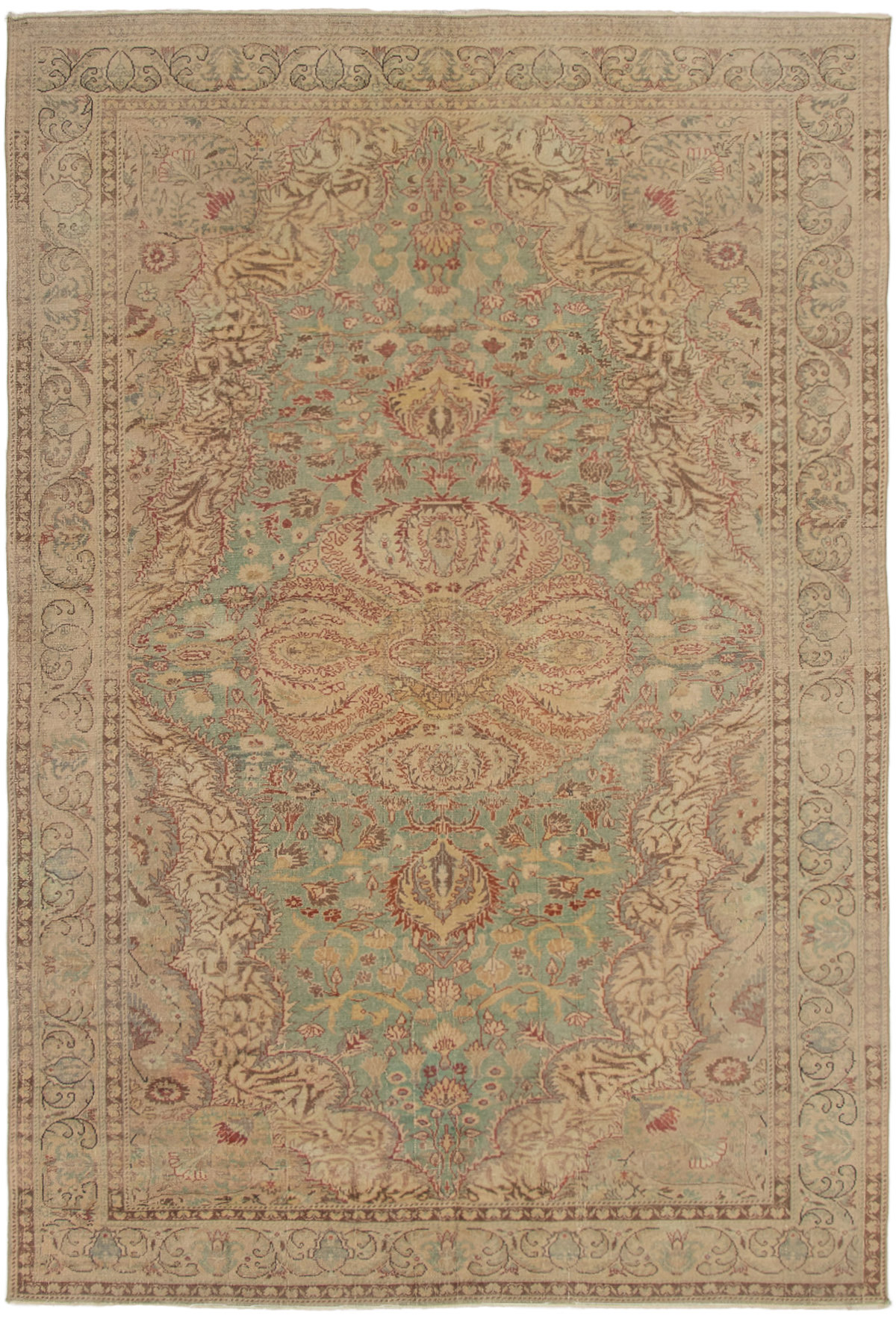 """Hand-knotted Antalya Vintage Light Green Wool Rug 6'5"""" x 9'9"""" Size: 6'5"""" x 9'9"""""""