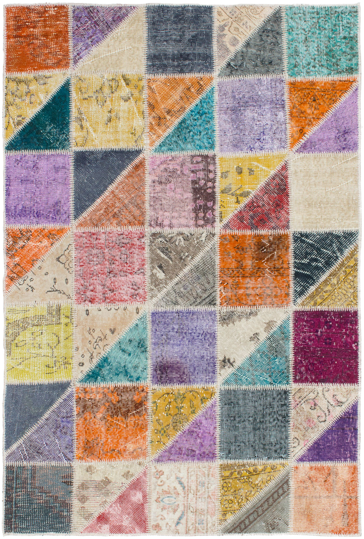 """Hand-knotted Color Transition Patch Orange, Violet Wool Rug 4'6"""" x 6'9"""" Size: 4'6"""" x 6'9"""""""
