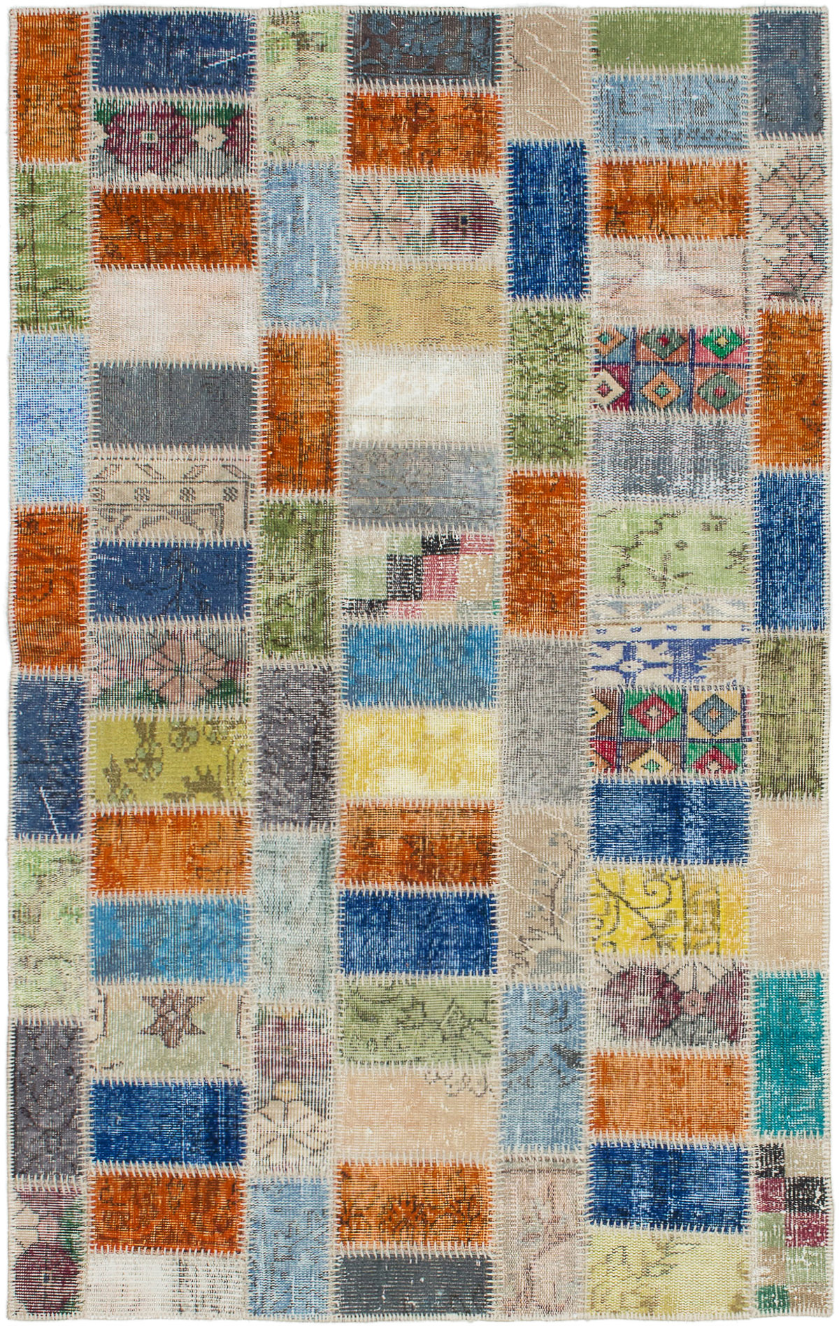 """Hand-knotted Color Transition Patch Olive, Orange Wool Rug 4'4"""" x 7'0"""" Size: 4'4"""" x 7'0"""""""