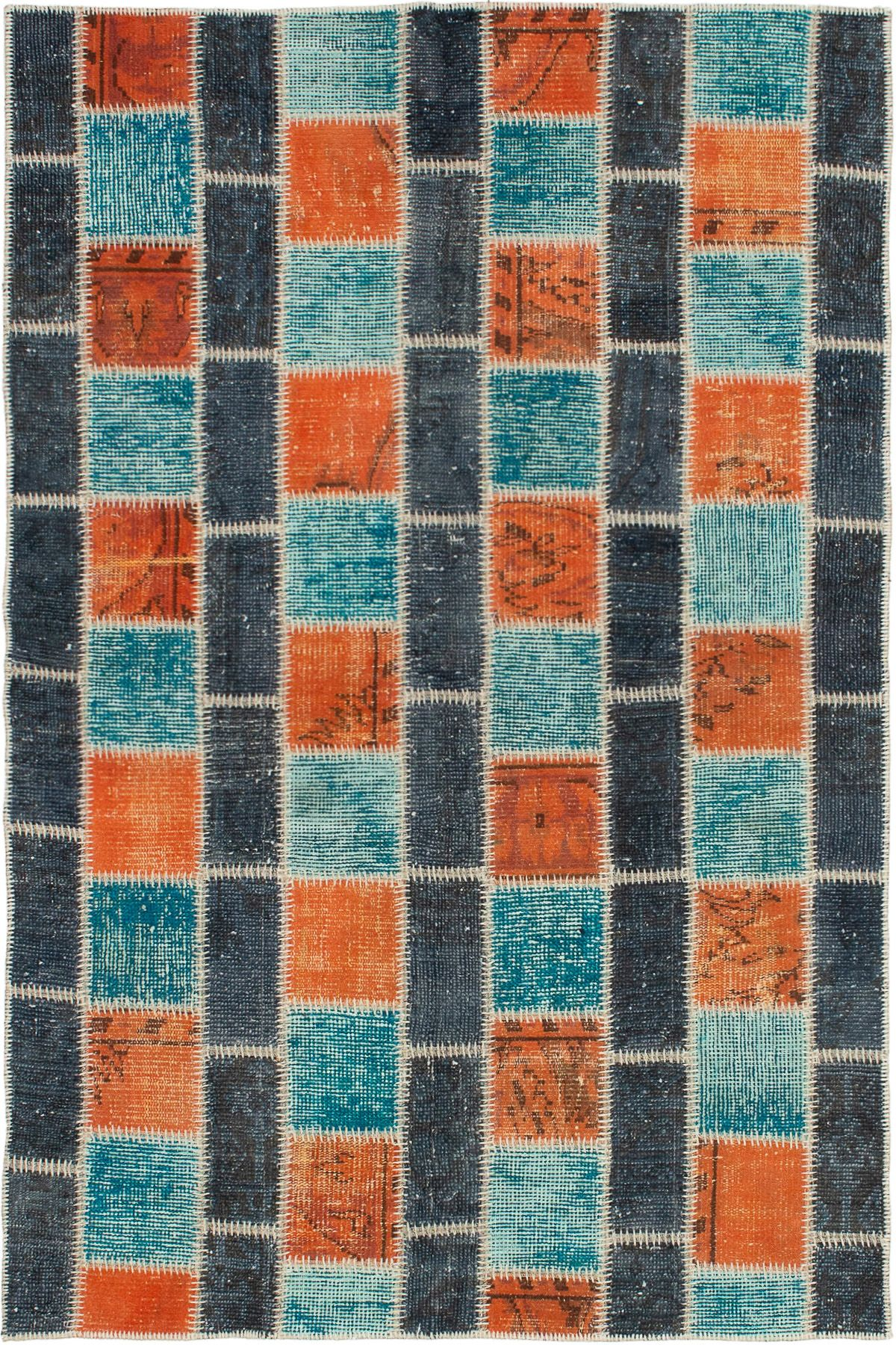 """Hand-knotted Color Transition Patch Dark Grey, Orange Wool Rug 4'7"""" x 6'11"""" Size: 4'7"""" x 6'11"""""""