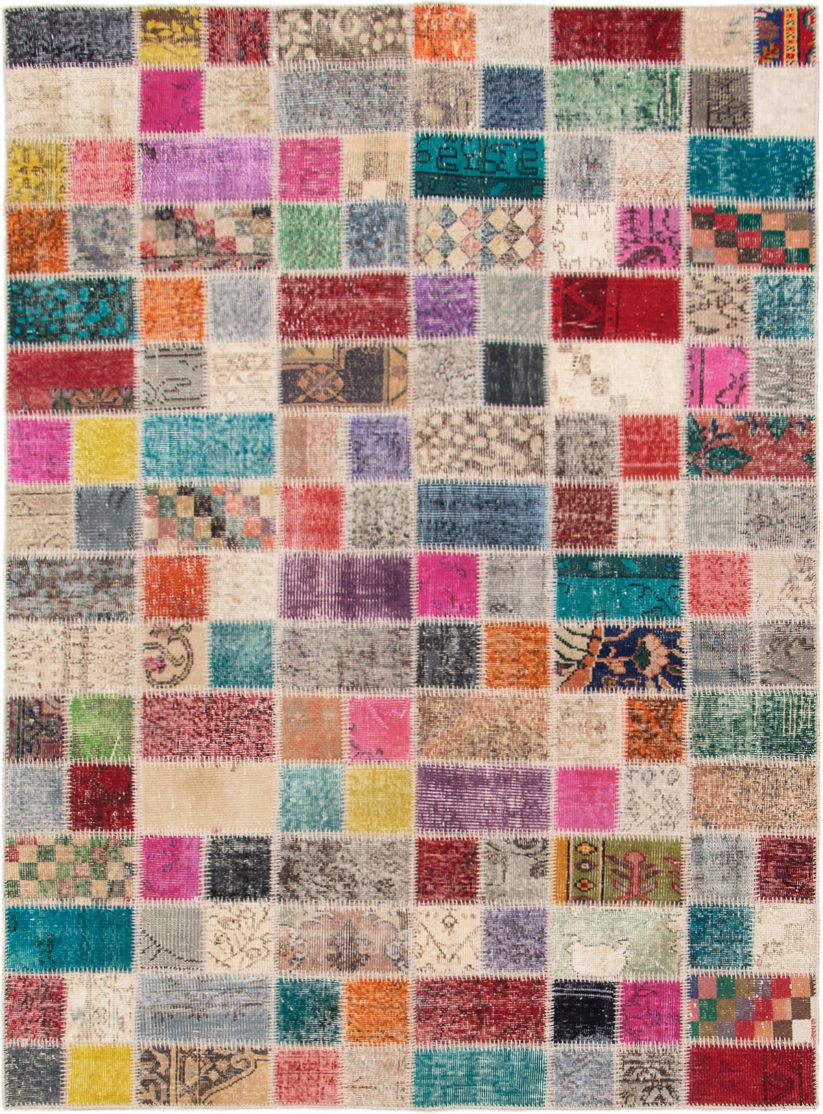 """Hand-knotted Color Transition Patch Beige, Purple Wool Rug 5'7"""" x 7'9"""" Size: 5'7"""" x 7'9"""""""