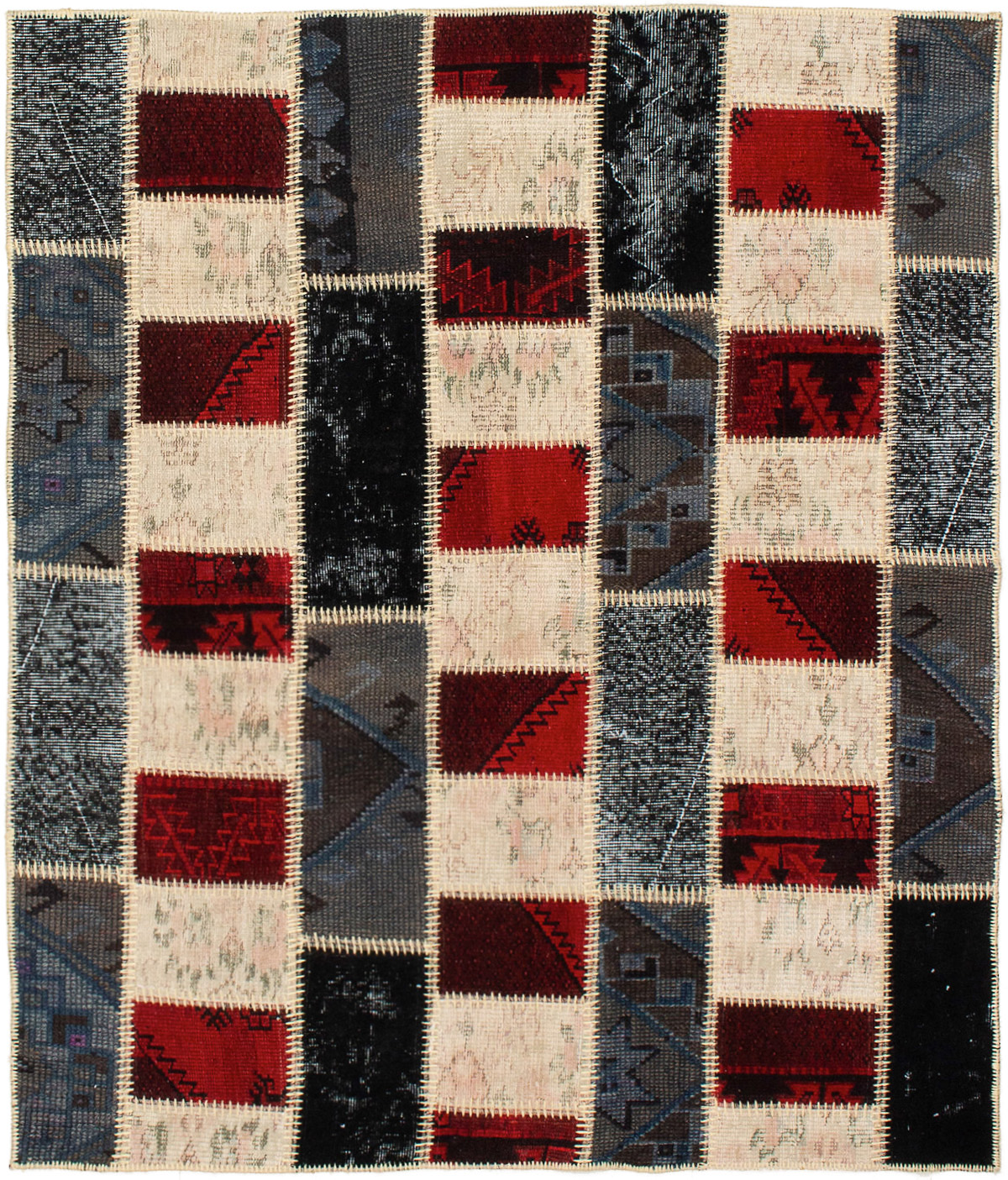 """Hand-knotted Color Transition Patch Cream, Dark Red Wool Rug 4'11"""" x 5'10"""" Size: 4'11"""" x 5'10"""""""