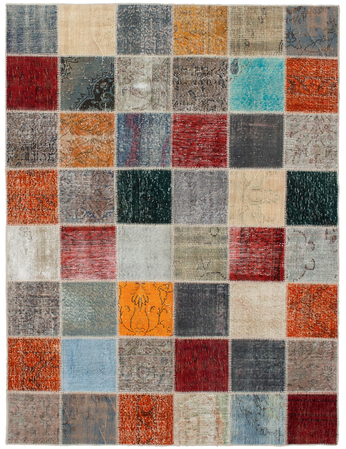 """Hand-knotted Color Transition Patch Dark Grey, Orange Wool Rug 5'9"""" x 7'7"""" Size: 5'9"""" x 7'7"""""""