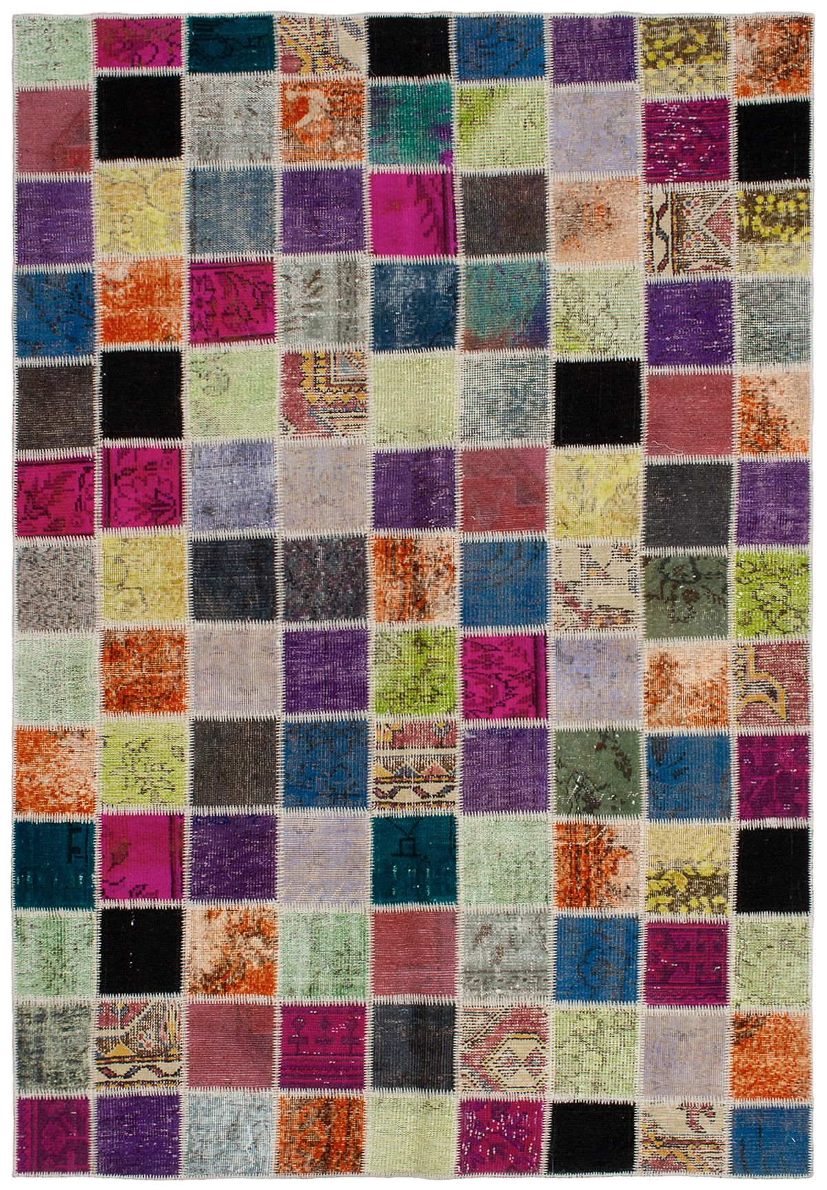 """Hand-knotted Color Transition Patch Orange, Purple Wool Rug 5'9"""" x 8'4"""" Size: 5'9"""" x 8'4"""""""