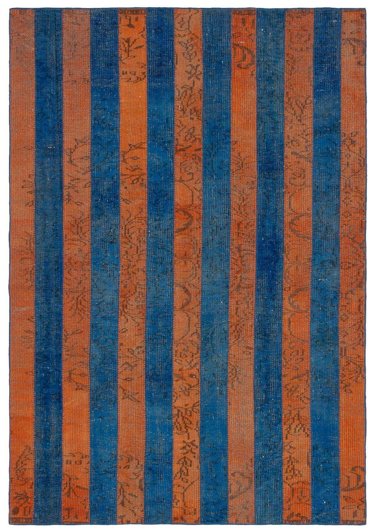 """Hand-knotted Color Transition Patch Copper, Navy Blue Wool Rug 6'0"""" x 8'9"""" Size: 6'0"""" x 8'9"""""""