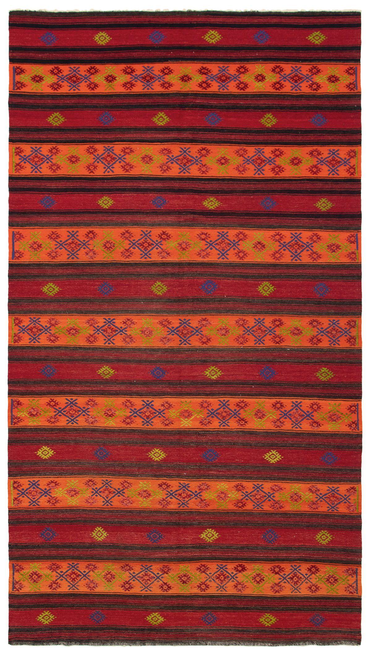 "Hand woven Yoruk Dark Red, Orange Wool Kilim 5'10"" x 10'9"" Size: 5'10"" x 10'9"""