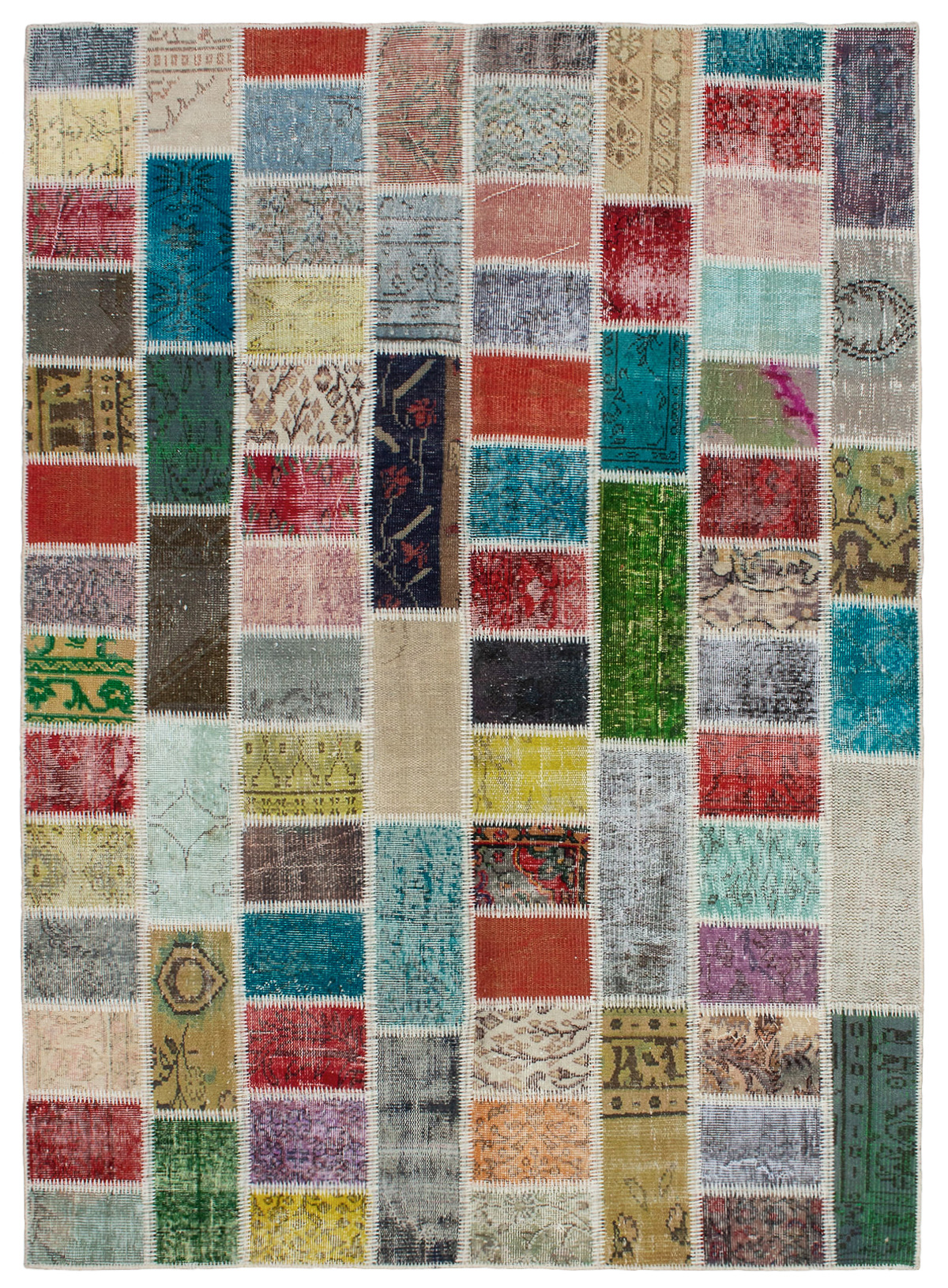 """Hand-knotted Color Transition Patch Light Blue , Red Wool Rug 5'8"""" x 7'10"""" Size: 5'8"""" x 7'10"""""""