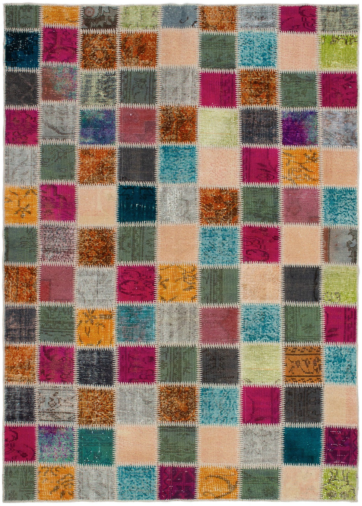 """Hand-knotted Color Transition Patch Burnt Orange, Dark Pink Wool Rug 5'10"""" x 8'5"""" Size: 5'10"""" x 8'5"""""""