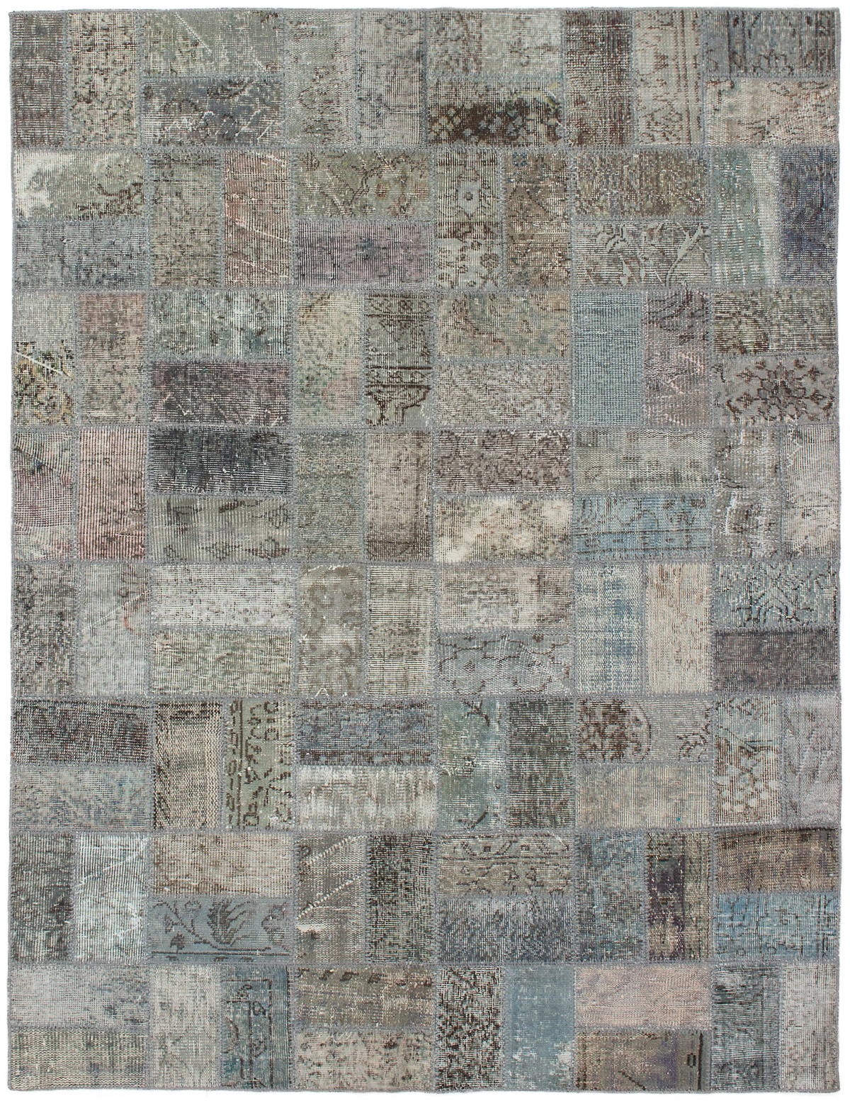 """Hand-knotted Color Transition Patch Grey Wool Rug 5'9"""" x 7'8""""  Size: 5'9"""" x 7'8"""""""