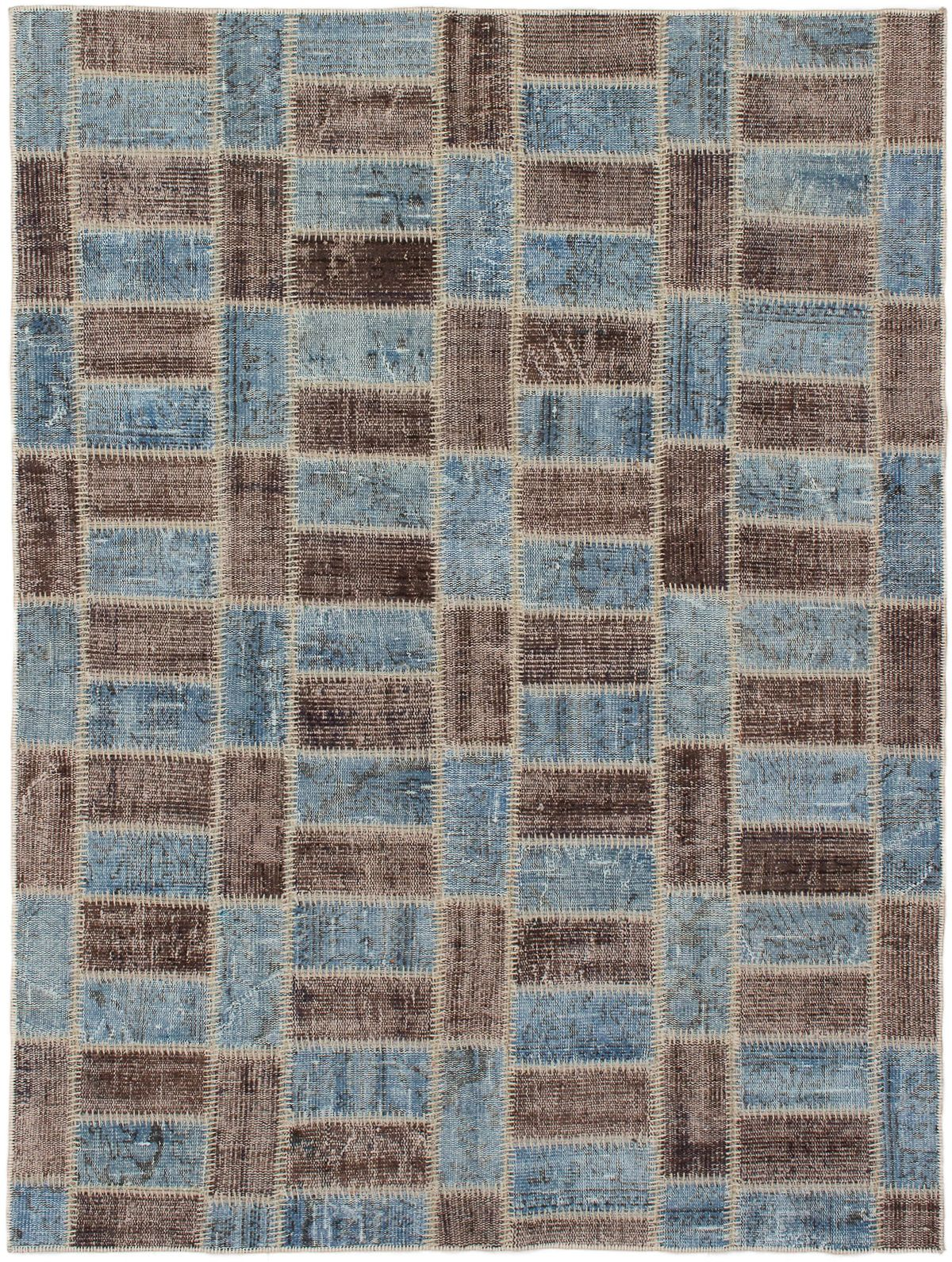 """Hand-knotted Color Transition Patch Brown, Sky Blue Wool Rug 5'6"""" x 7'5"""" Size: 5'6"""" x 7'5"""""""