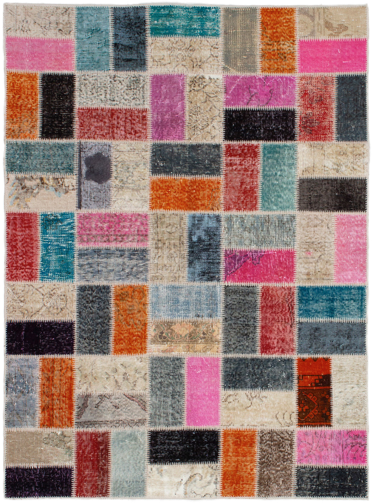 """Hand-knotted Color Transition Patch Orange, Pink Wool Rug 4'10"""" x 6'8"""" Size: 4'10"""" x 6'8"""""""