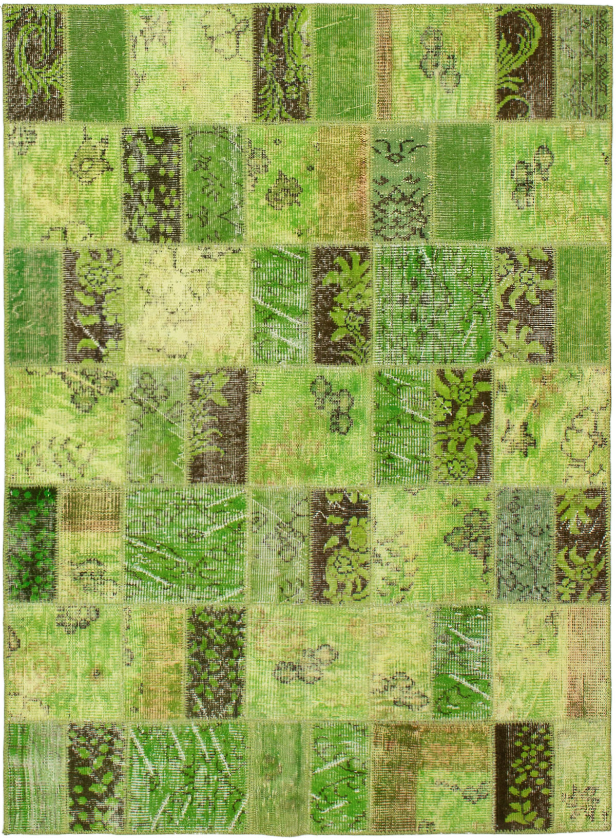 """Hand-knotted Color Transition Patch Green Wool Rug 4'10"""" x 6'8"""" Size: 4'10"""" x 6'8"""""""
