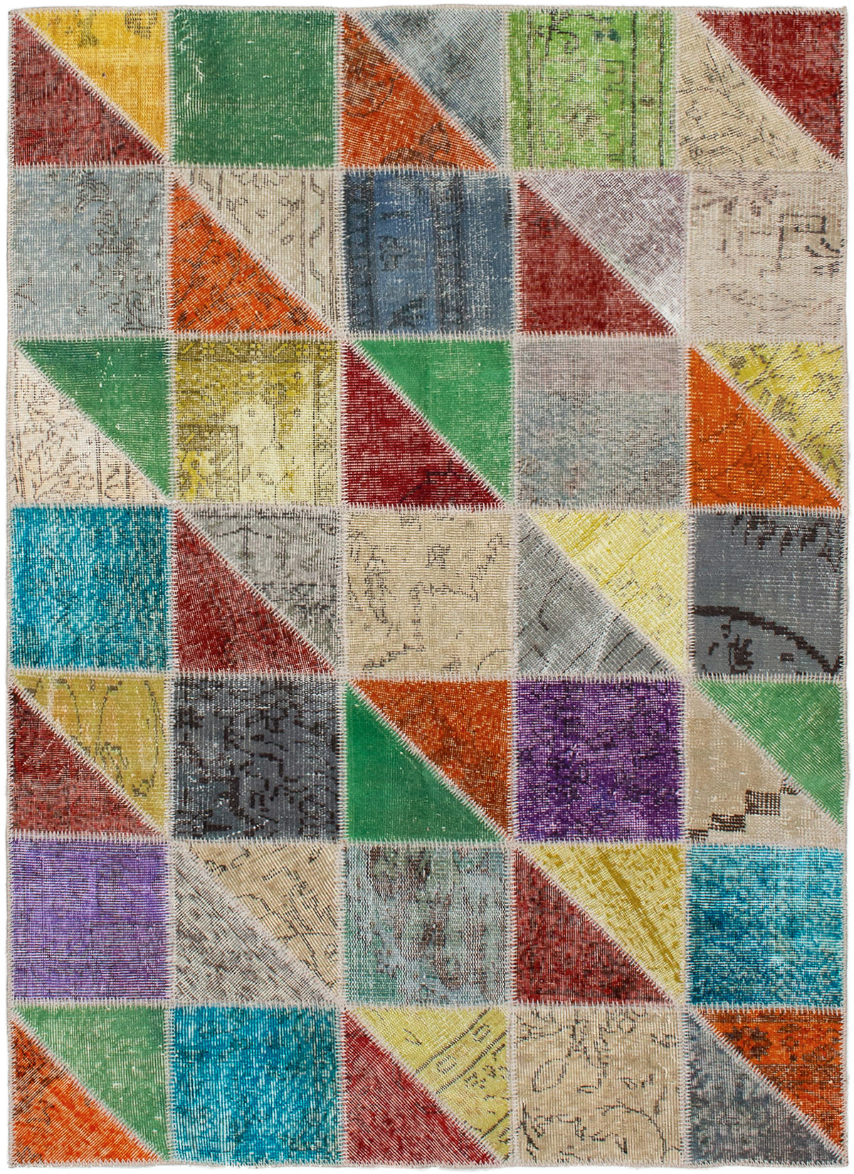 """Hand-knotted Color Transition Patch Grey Wool Rug 4'9"""" x 6'7""""  Size: 4'9"""" x 6'7"""""""