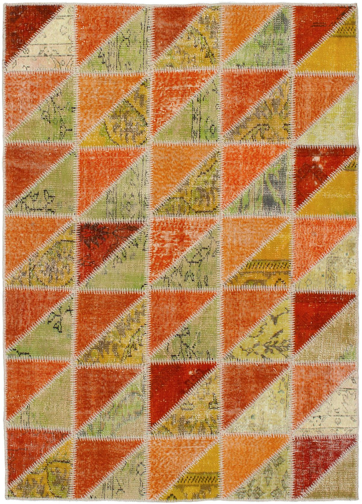 """Hand-knotted Color Transition Patch Khaki, Orange Wool Rug 4'10"""" x 6'11"""" Size: 4'10"""" x 6'11"""""""