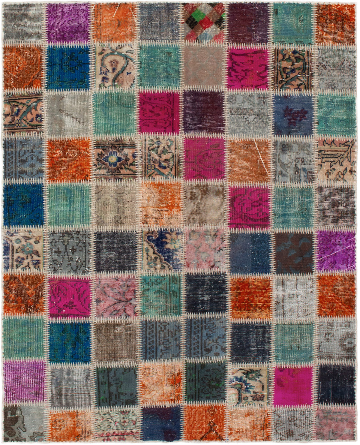 """Hand-knotted Color Transition Patch Dark Pink, Orange Wool Rug 5'2"""" x 6'7"""" Size: 5'2"""" x 6'7"""""""
