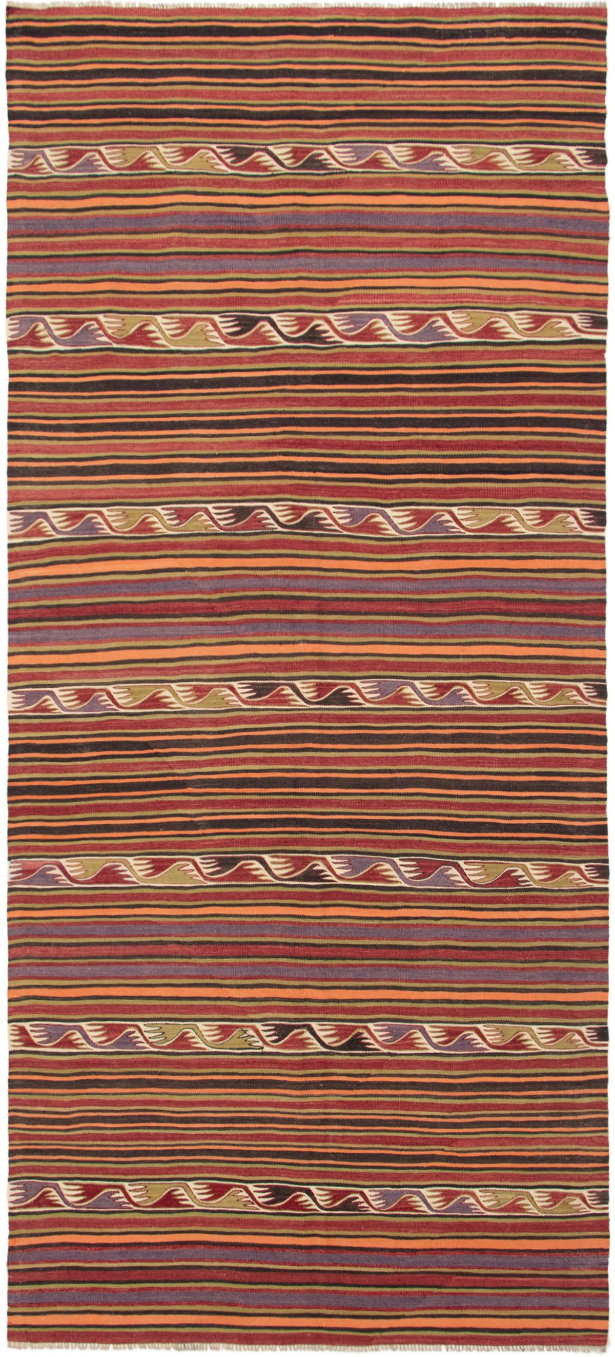 "Hand woven Bohemian Dark Red Wool Kilim 5'0"" x 12'6"" Size: 5'0"" x 12'6"""