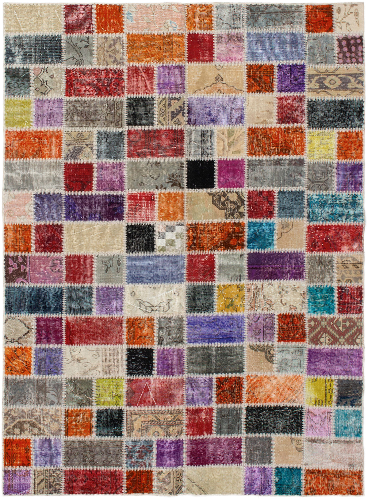 """Hand-knotted Color Transition Patch Grey, Orange Wool Rug 5'7"""" x 7'9"""" Size: 5'7"""" x 7'9"""""""