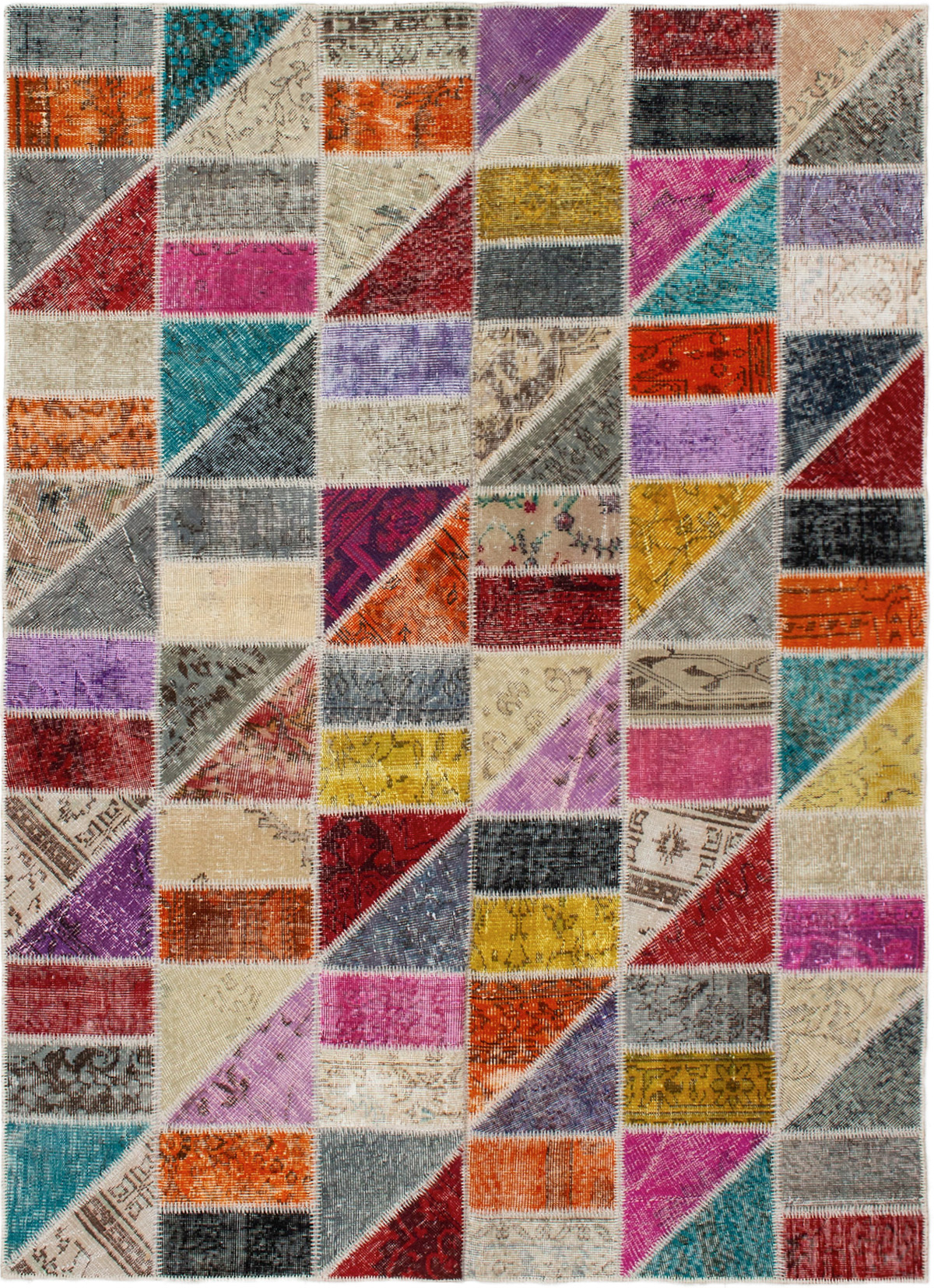 """Hand-knotted Color Transition Patch Dark Red, Orange Wool Rug 5'7"""" x 7'10"""" Size: 5'7"""" x 7'10"""""""