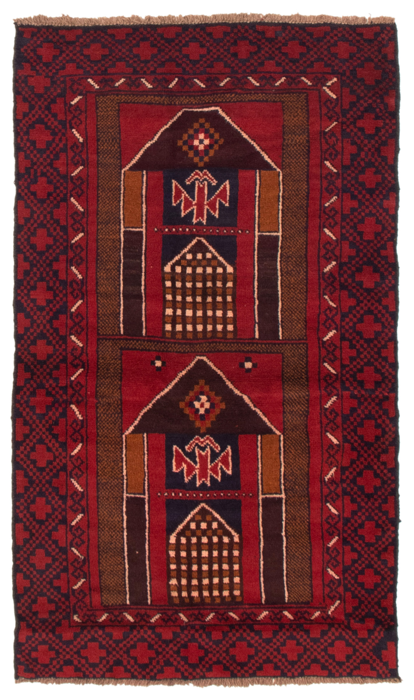 """Hand-knotted Teimani Navy Blue, Red Wool Rug 3'7"""" x 6'5"""" Size: 3'7"""" x 6'5"""""""