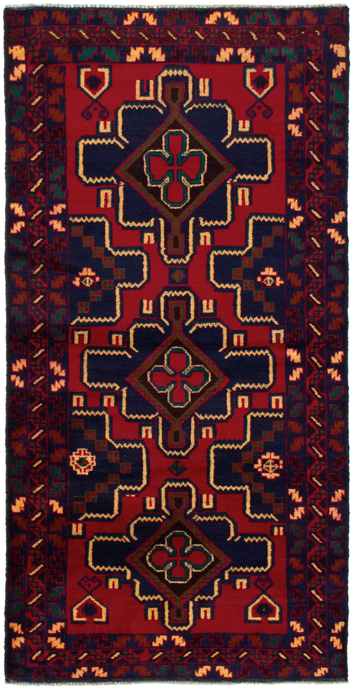 """Hand-knotted Teimani Dark Blue, Red Wool Rug 3'2"""" x 6'8"""" Size: 3'2"""" x 6'8"""""""