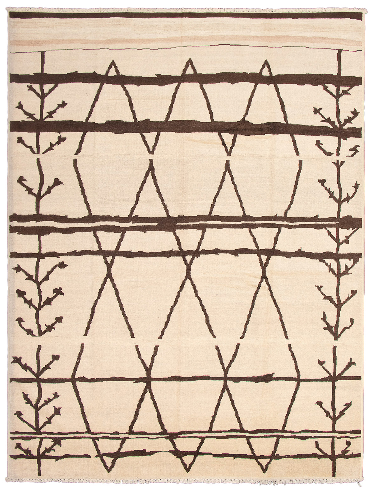 """Hand-knotted Tangier Cream Wool Rug 10'4"""" x 13'8"""" Size: 10'4"""" x 13'8"""""""