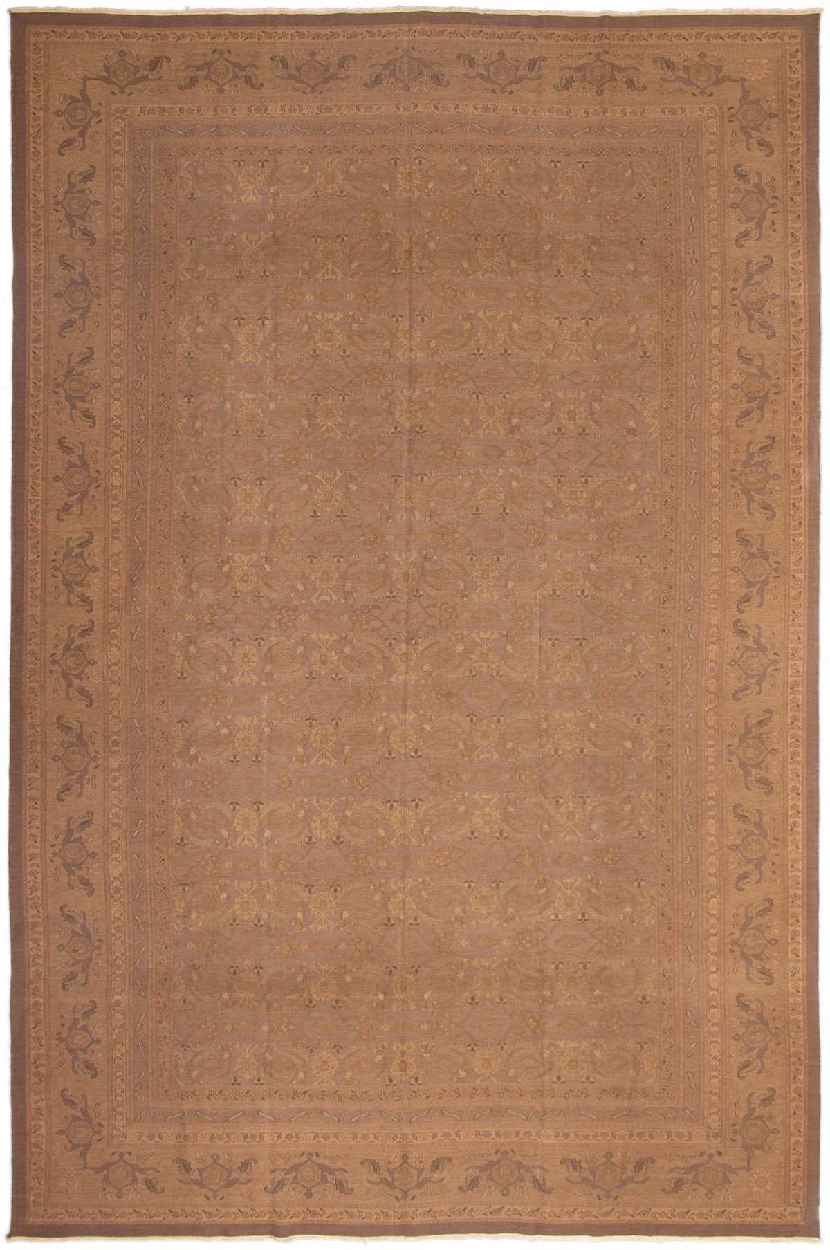 """Hand woven Dynasty Brown Wool Tapestry Kilim 11'6"""" x 17'6"""" Size: 11'6"""" x 17'6"""""""