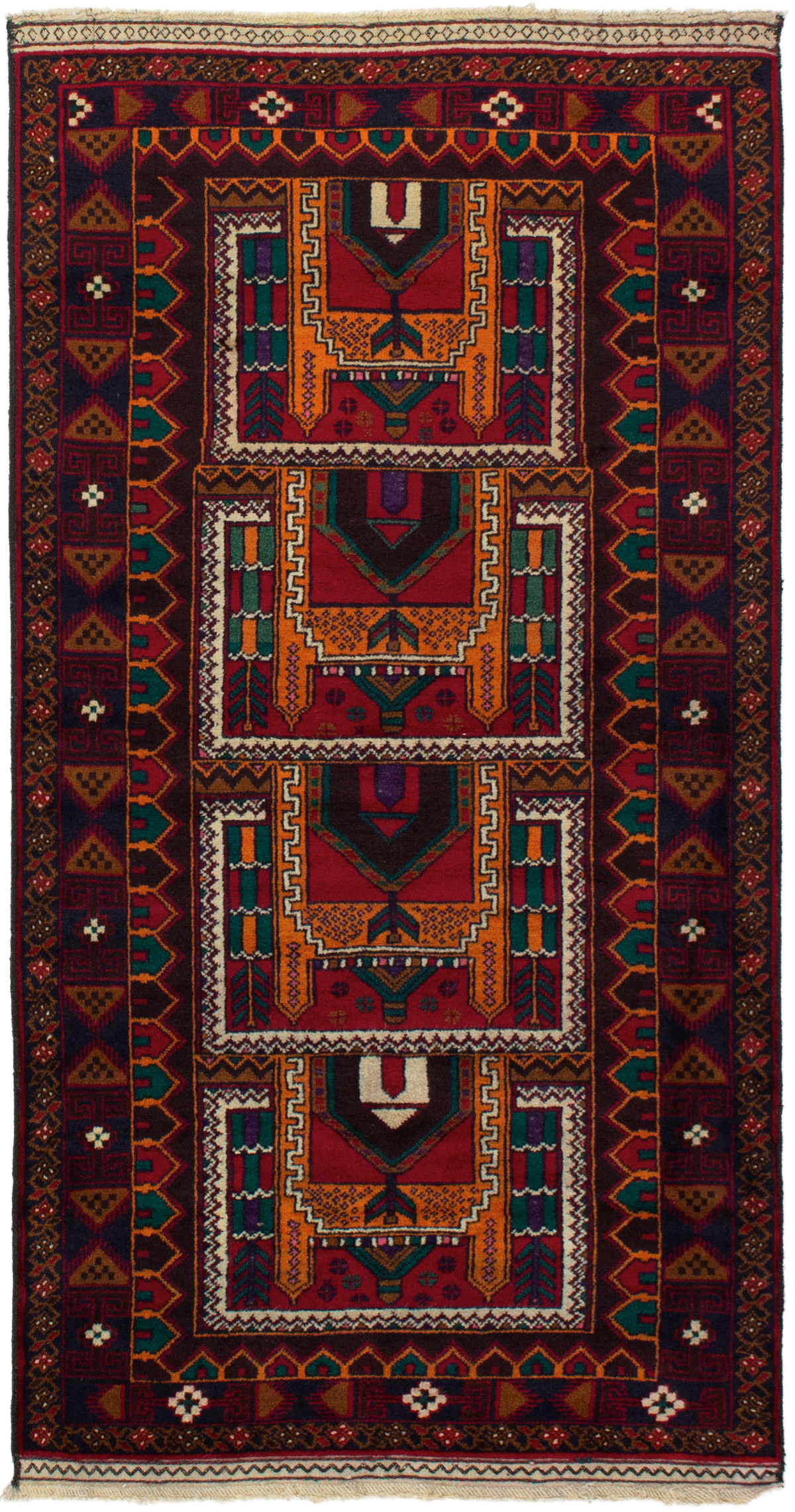 """Hand-knotted Teimani Red Wool Rug 3'5"""" x 6'9""""  Size: 3'5"""" x 6'9"""""""