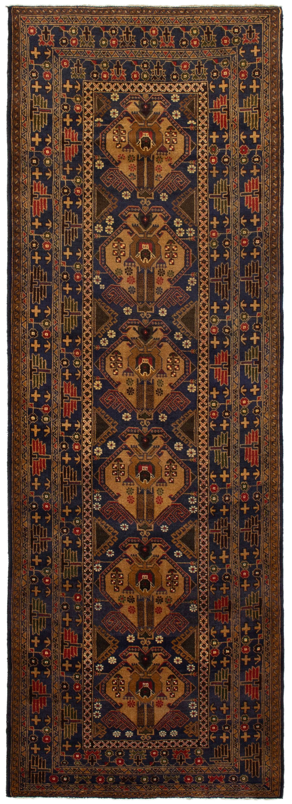"""Hand-knotted Rizbaft Navy Blue Wool Rug 3'2"""" x 9'2"""" Size: 3'2"""" x 9'2"""""""