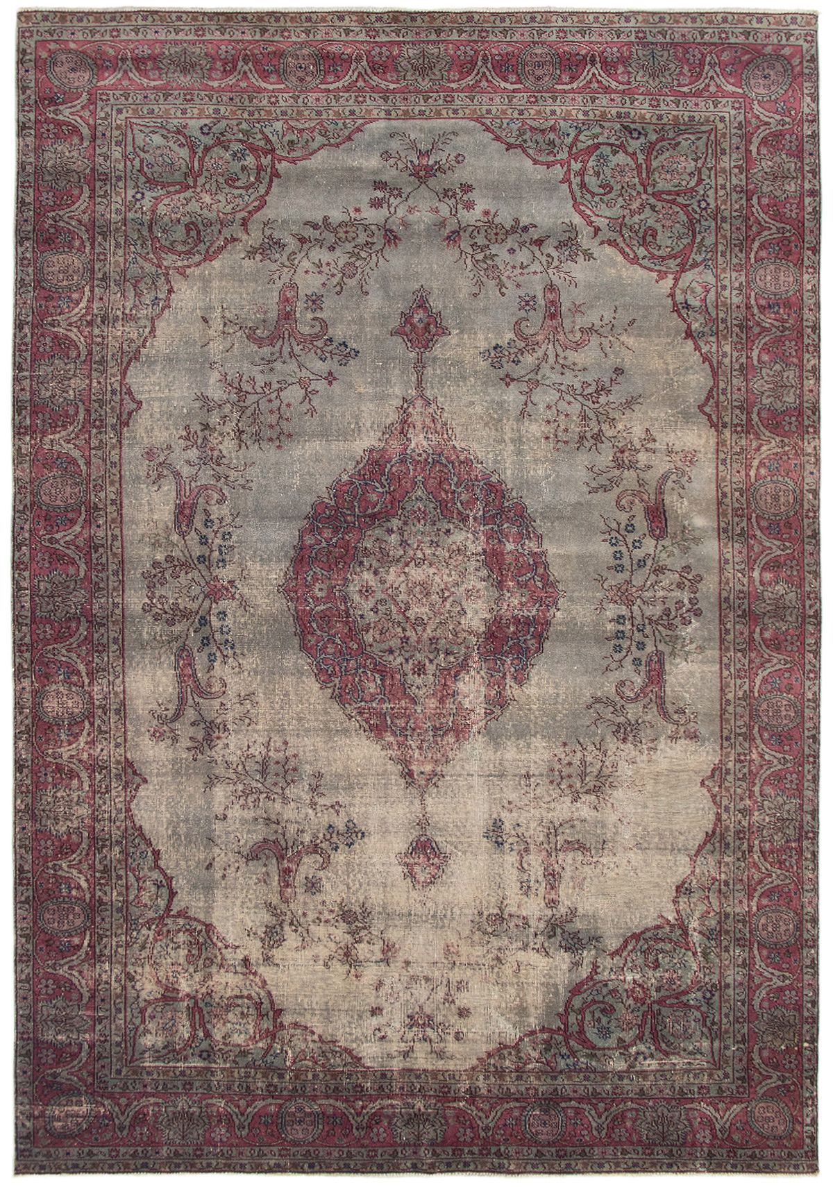 """Hand-knotted Color Transition Dark Red, Light Grey Wool Rug 7'8"""" x 11'3"""" Size: 7'8"""" x 11'3"""""""