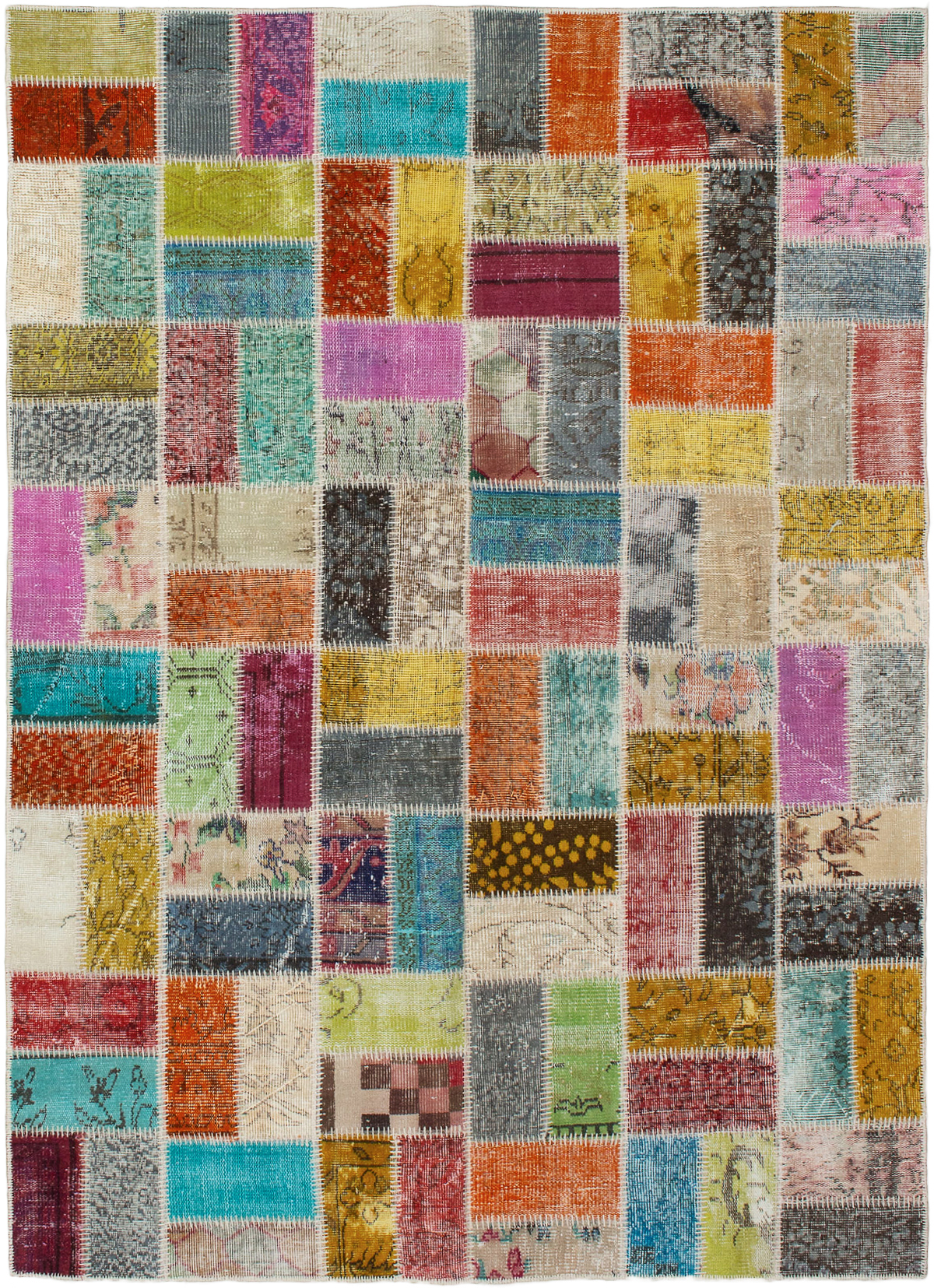 """Hand-knotted Color Transition Patch Grey, Orange Wool Rug 5'7"""" x 7'8"""" Size: 5'7"""" x 7'8"""""""