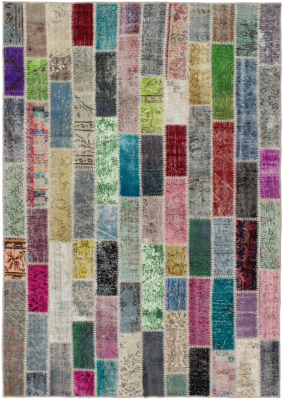 """Hand-knotted Color Transition Patch Grey Wool Rug 5'6"""" x 7'10""""  Size: 5'6"""" x 7'10"""""""