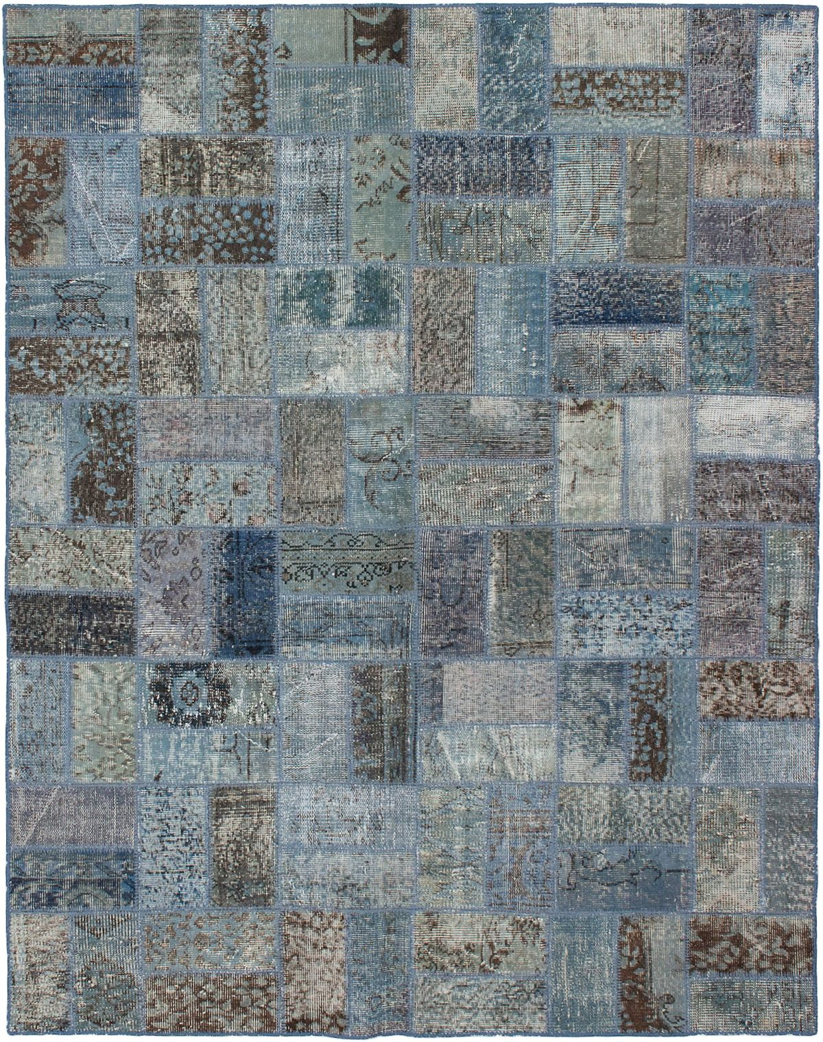 """Hand-knotted Color Transition Patch Light Blue  Wool Rug 5'9"""" x 7'4"""" Size: 5'9"""" x 7'4"""""""