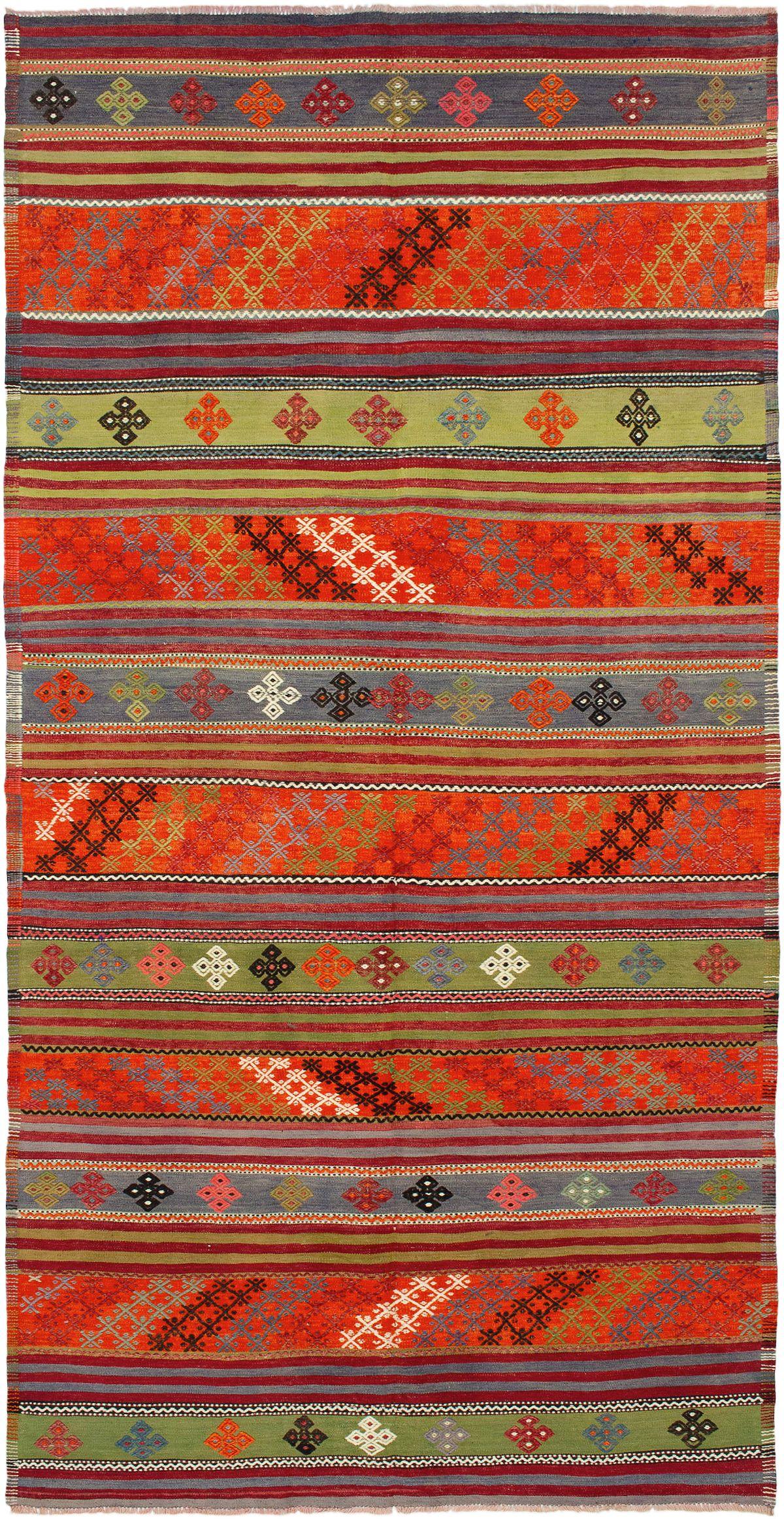 """Hand woven Kashkoli FW Olive, Orange Wool Kilim 5'3"""" x 10'10"""" Size: 5'3"""" x 10'10"""""""