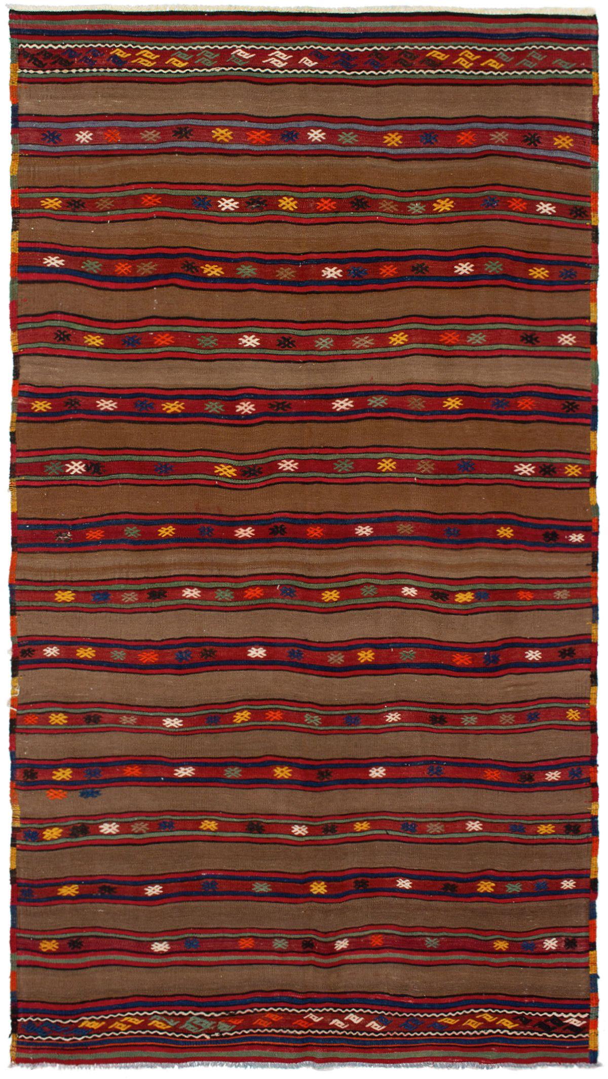 "Hand woven Bohemian Brown, Cream, Dark Navy, Light Orange, Red Wool Kilim 5'3"" x 9'8"" Size: 5'3"" x 9'8&qu"
