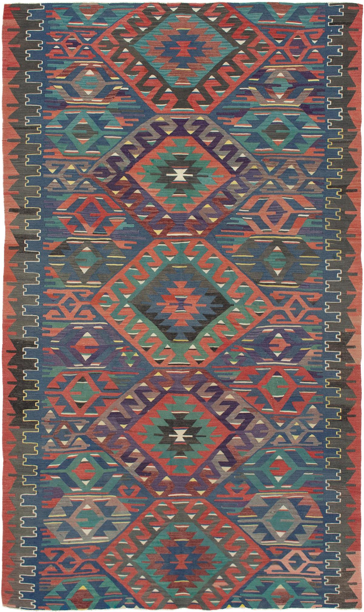 "Hand woven Sivas Blue, Dark Copper Wool Kilim 5'7"" x 9'7"" Size: 5'7"" x 9'7"""