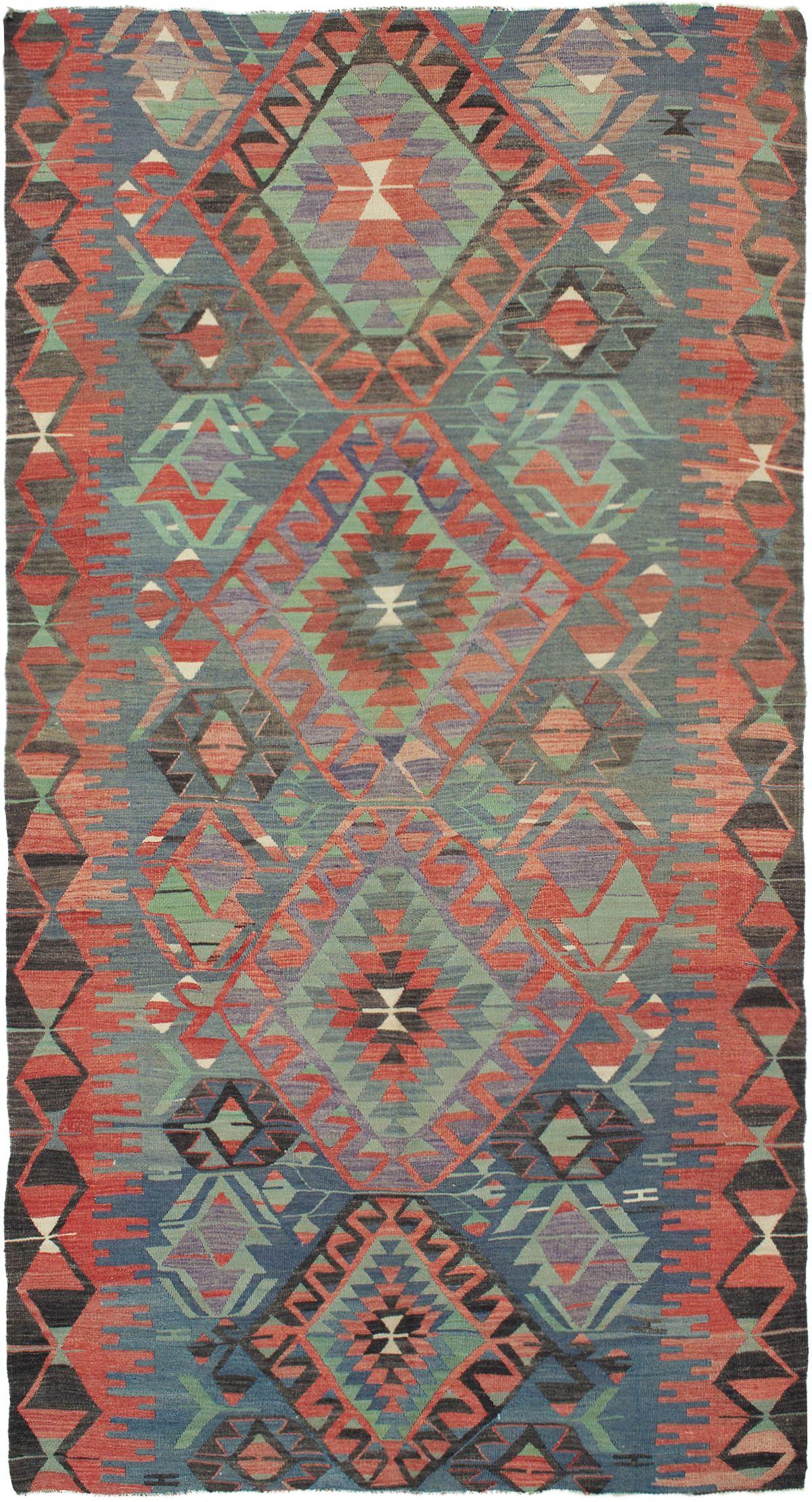 "Hand woven Sivas Dark Copper Wool Kilim 5'4"" x 10'0"" Size: 5'4"" x 10'0"""