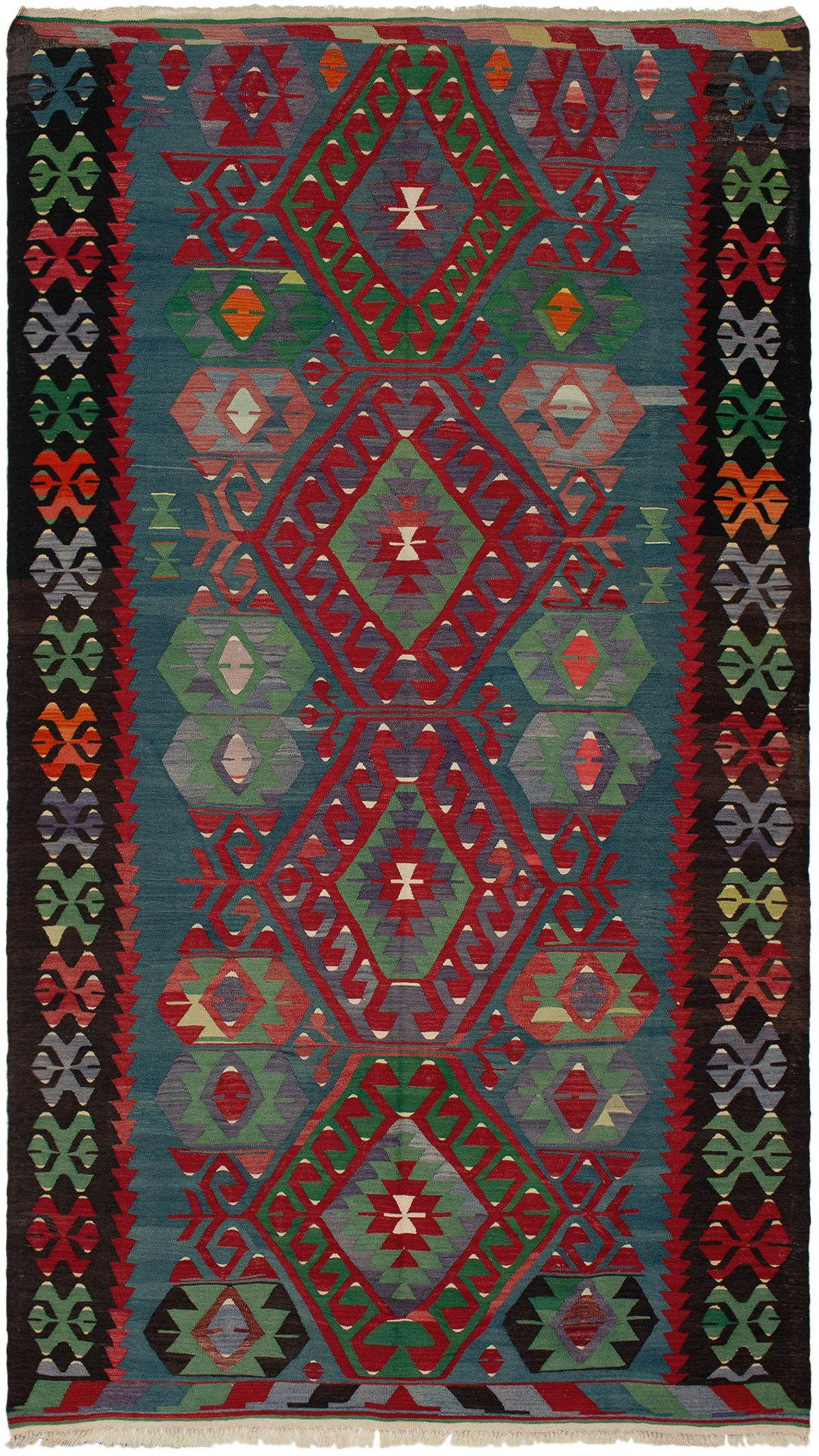 "Hand woven Sivas Red Wool Kilim 5'11"" x 11'0"" Size: 5'11"" x 11'0"""