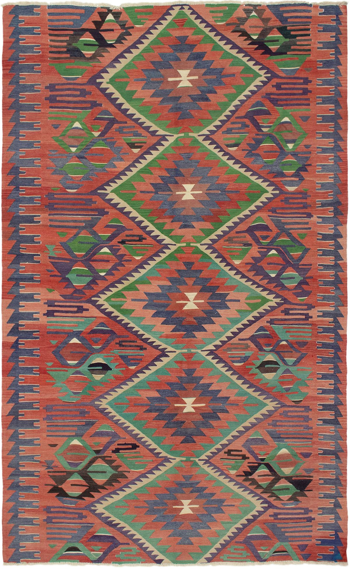 "Hand woven Sivas Dark Copper Wool Kilim 5'11"" x 10'3"" Size: 5'11"" x 10'3"""