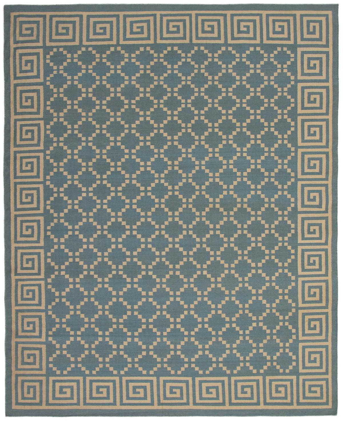 "Hand woven Ankara FW Light Denim Blue Wool Kilim 9'4"" x 11'9"" Size: 9'4"" x 11'9"""