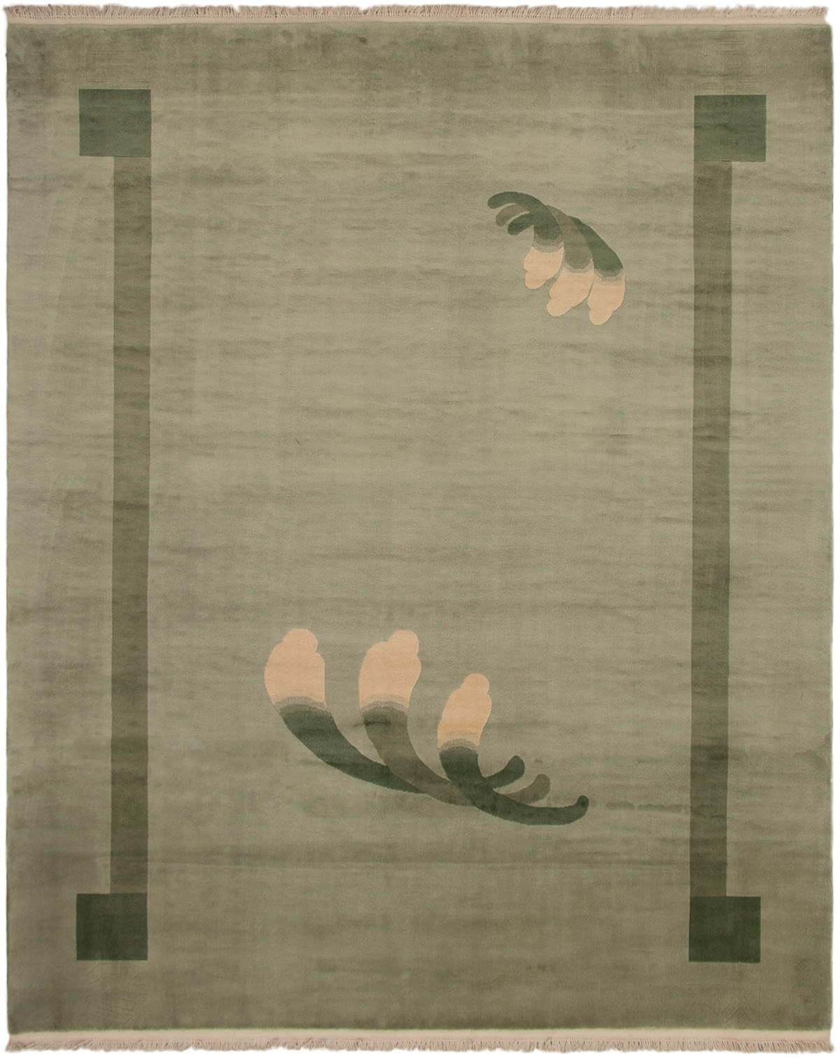 """Hand-knotted Aubousson Light Green Wool Rug 8'1"""" x 9'11"""" Size: 8'1"""" x 9'11"""""""