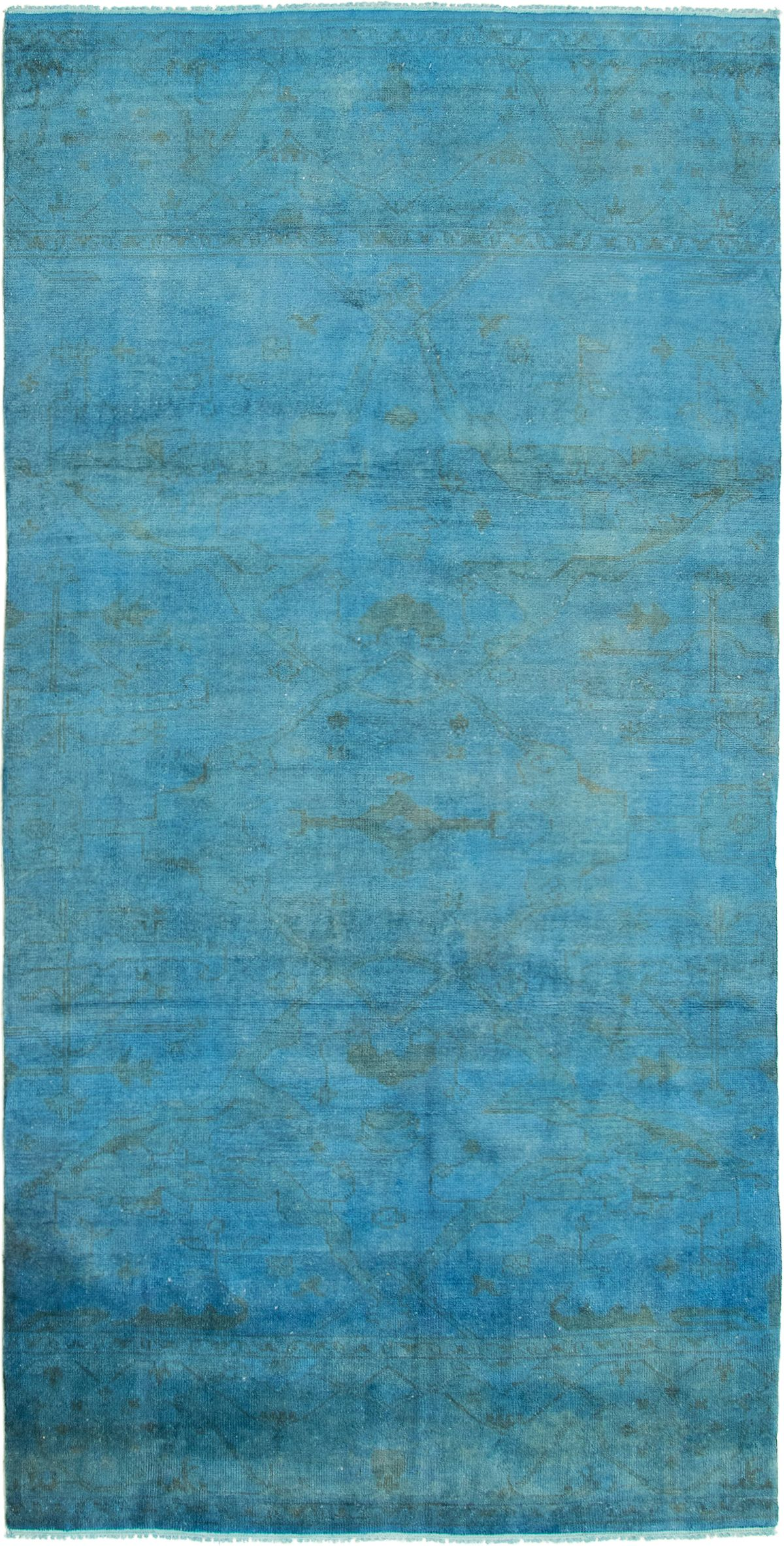 """Hand-knotted Color transition Blue Wool Rug 5'0"""" x 10'0"""" Size: 5'0"""" x 10'0"""""""