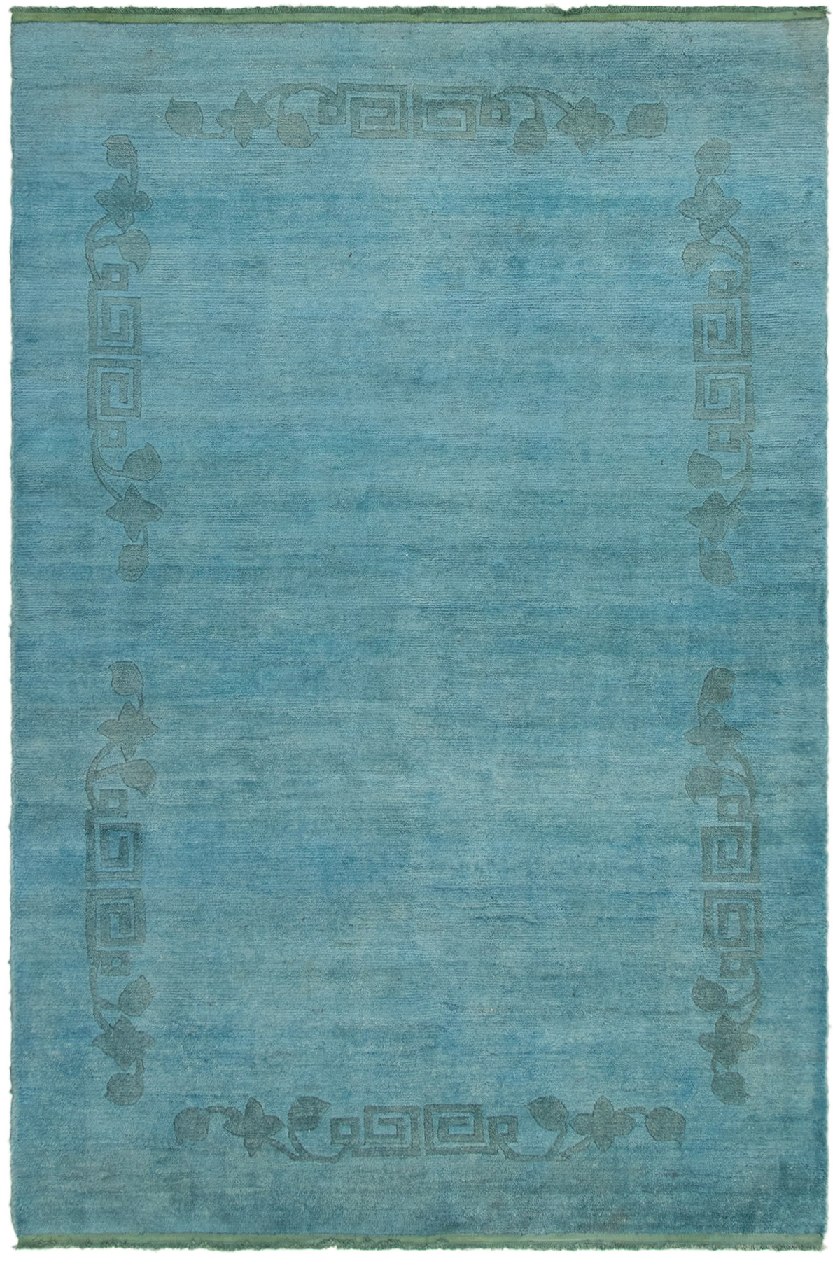 """Hand-knotted Color transition Sky Blue Wool Rug 5'11"""" x 8'9"""" Size: 5'11"""" x 8'9"""""""