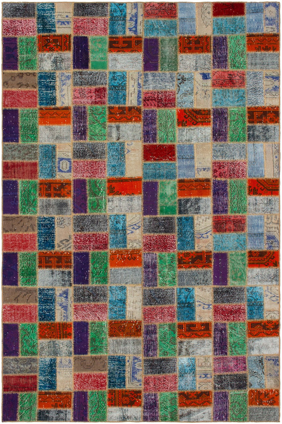 """Hand-knotted Color Transition Patch Orange, Teal Wool Rug 6'8"""" x 10'3"""" Size: 6'8"""" x 10'3"""""""