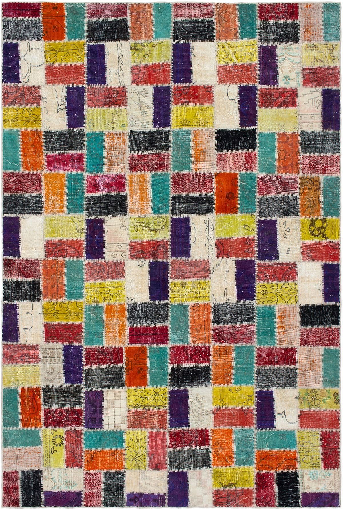 """Hand-knotted Color Transition Patch Dark Red, Orange Wool Rug 6'9"""" x 10'4"""" Size: 6'9"""" x 10'4"""""""