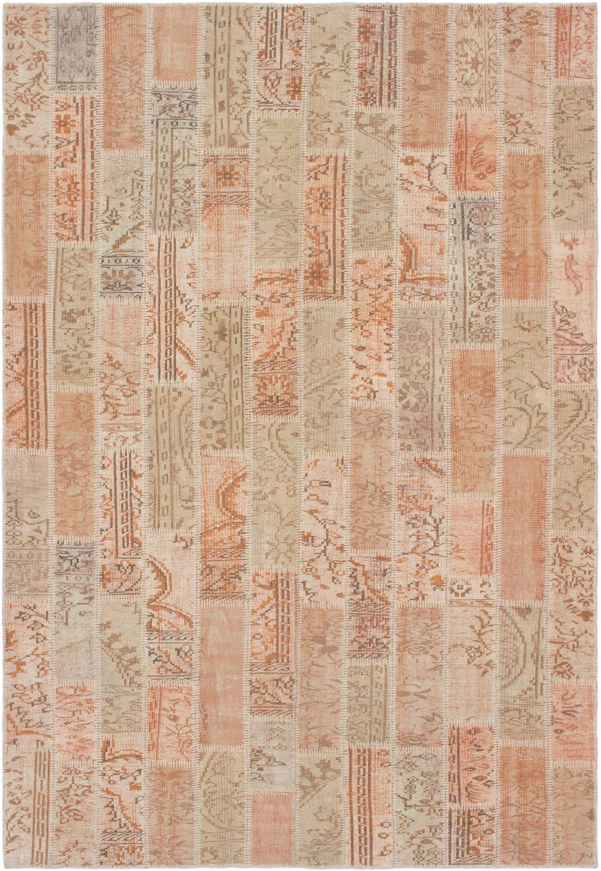 "Hand-knotted Vintage Anatolia Patch Salmon Wool Rug 6'8"" x 9'9"" Size: 6'8"" x 9'9"""