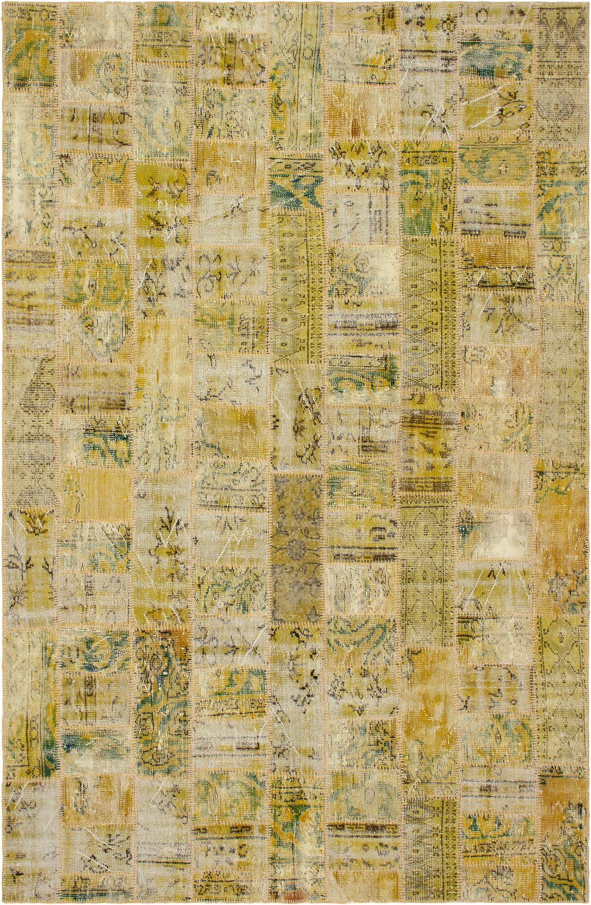 """Hand-knotted Color Transition Patch Khaki Wool Rug 6'3"""" x 10'0"""" Size: 6'3"""" x 10'0"""""""