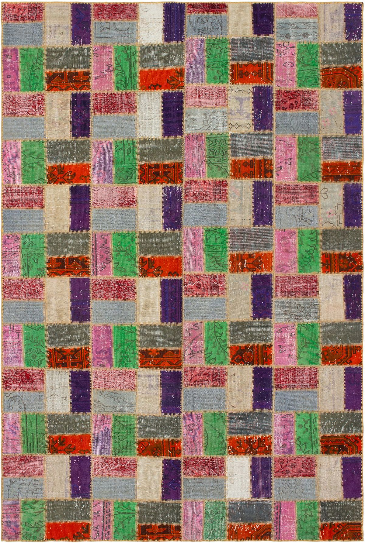 """Hand-knotted Color Transition Patch Orange, Purple Wool Rug 6'9"""" x 10'3"""" Size: 6'9"""" x 10'3"""""""