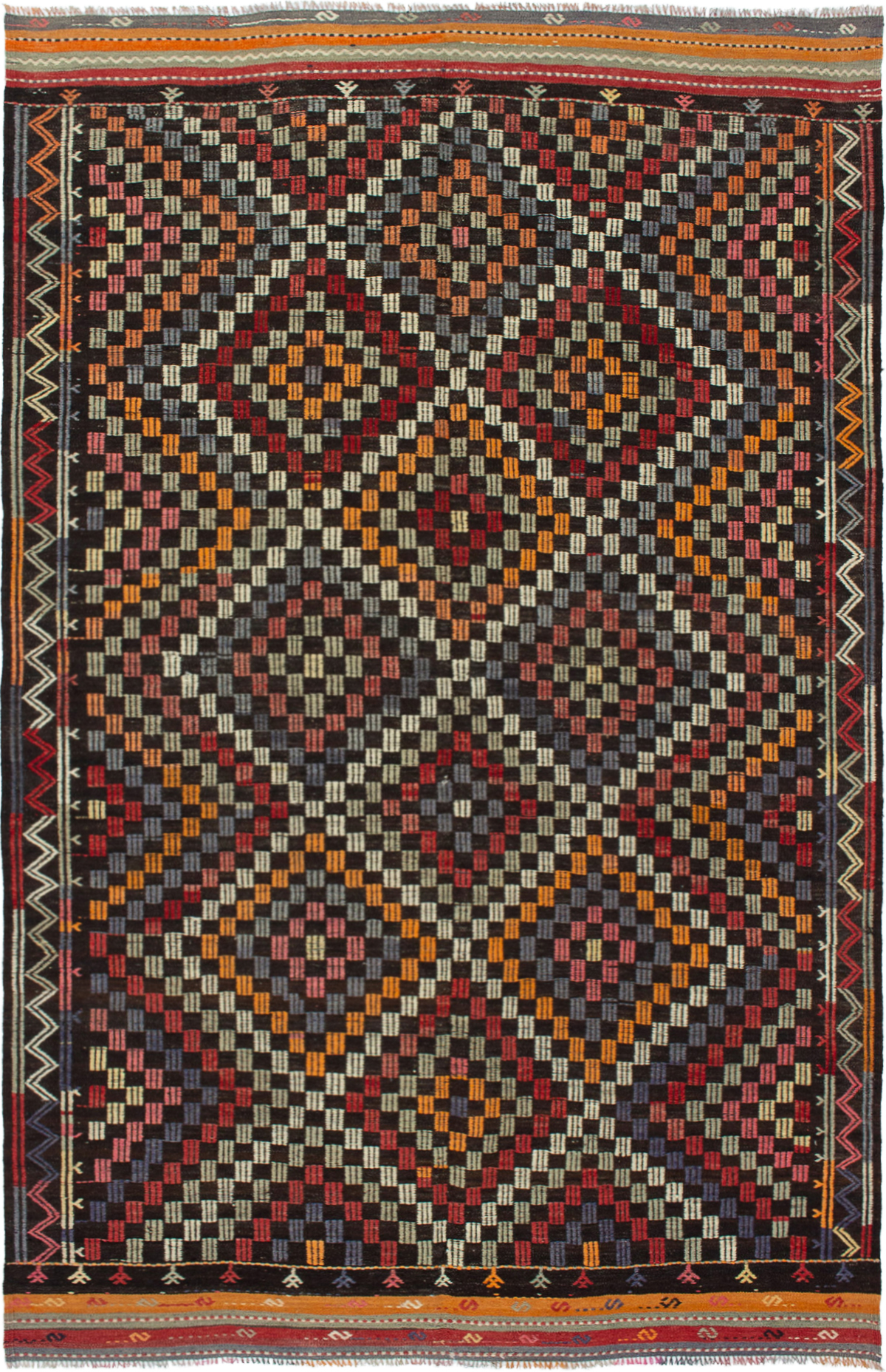 "Hand woven Yoruk Cream, Red Wool Tapestry Kilim 6'7"" x 10'4"" Size: 6'7"" x 10'4"""