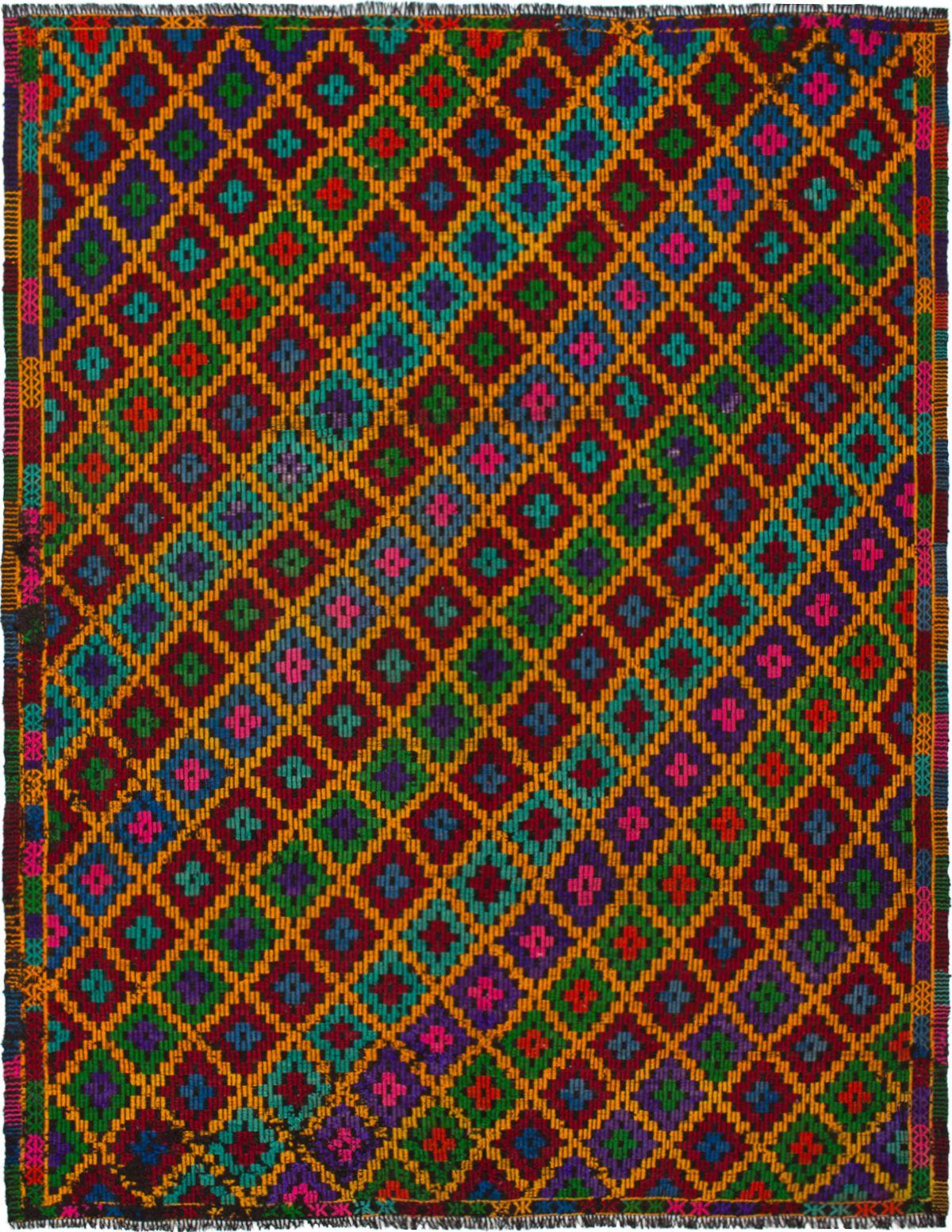 "Hand woven Yoruk Orange Wool Tapestry Kilim 7'3"" x 9'3"" Size: 7'3"" x 9'3"""