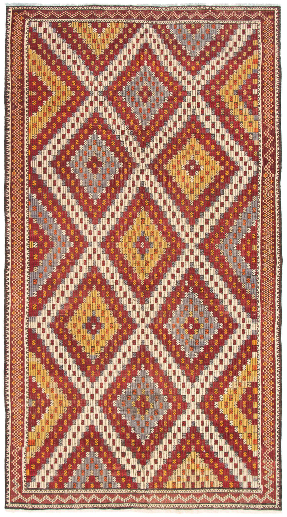 "Hand woven Yoruk Dark Red Wool Tapestry Kilim 6'3"" x 11'6"" Size: 6'3"" x 11'6"""